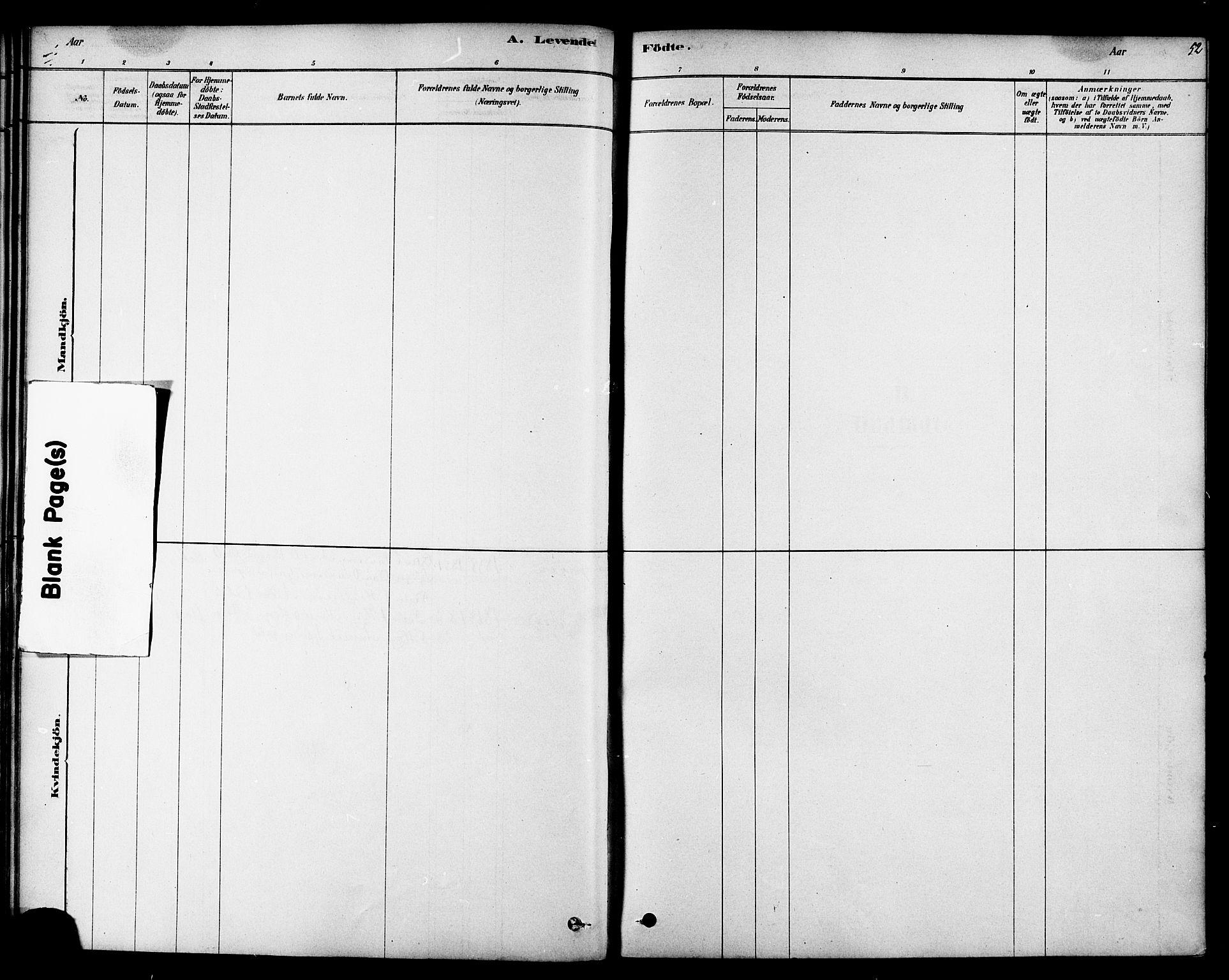 SAT, Ministerialprotokoller, klokkerbøker og fødselsregistre - Sør-Trøndelag, 692/L1105: Ministerialbok nr. 692A05, 1878-1890, s. 52