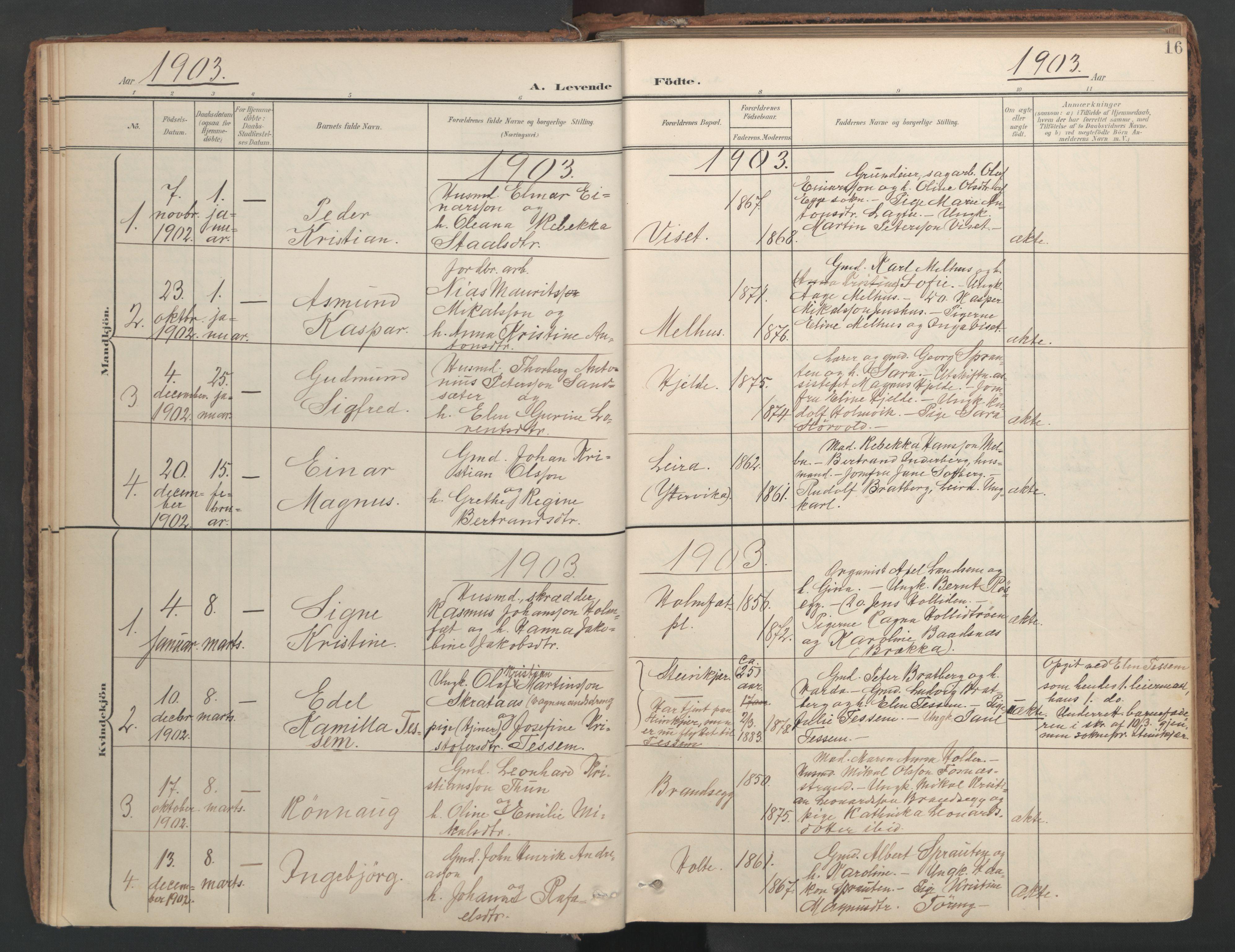 SAT, Ministerialprotokoller, klokkerbøker og fødselsregistre - Nord-Trøndelag, 741/L0397: Ministerialbok nr. 741A11, 1901-1911, s. 16