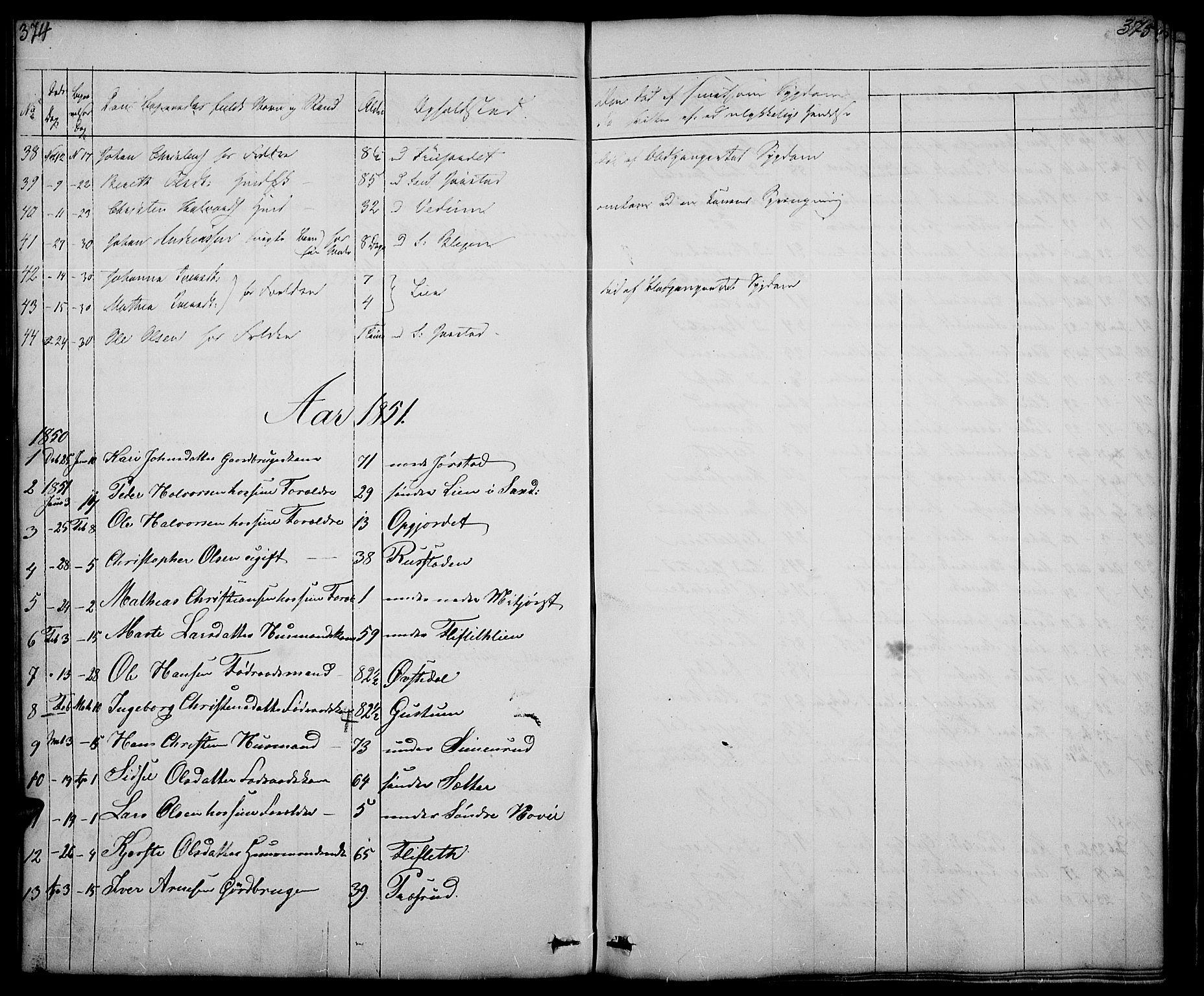 SAH, Fåberg prestekontor, Klokkerbok nr. 5, 1837-1864, s. 374-375