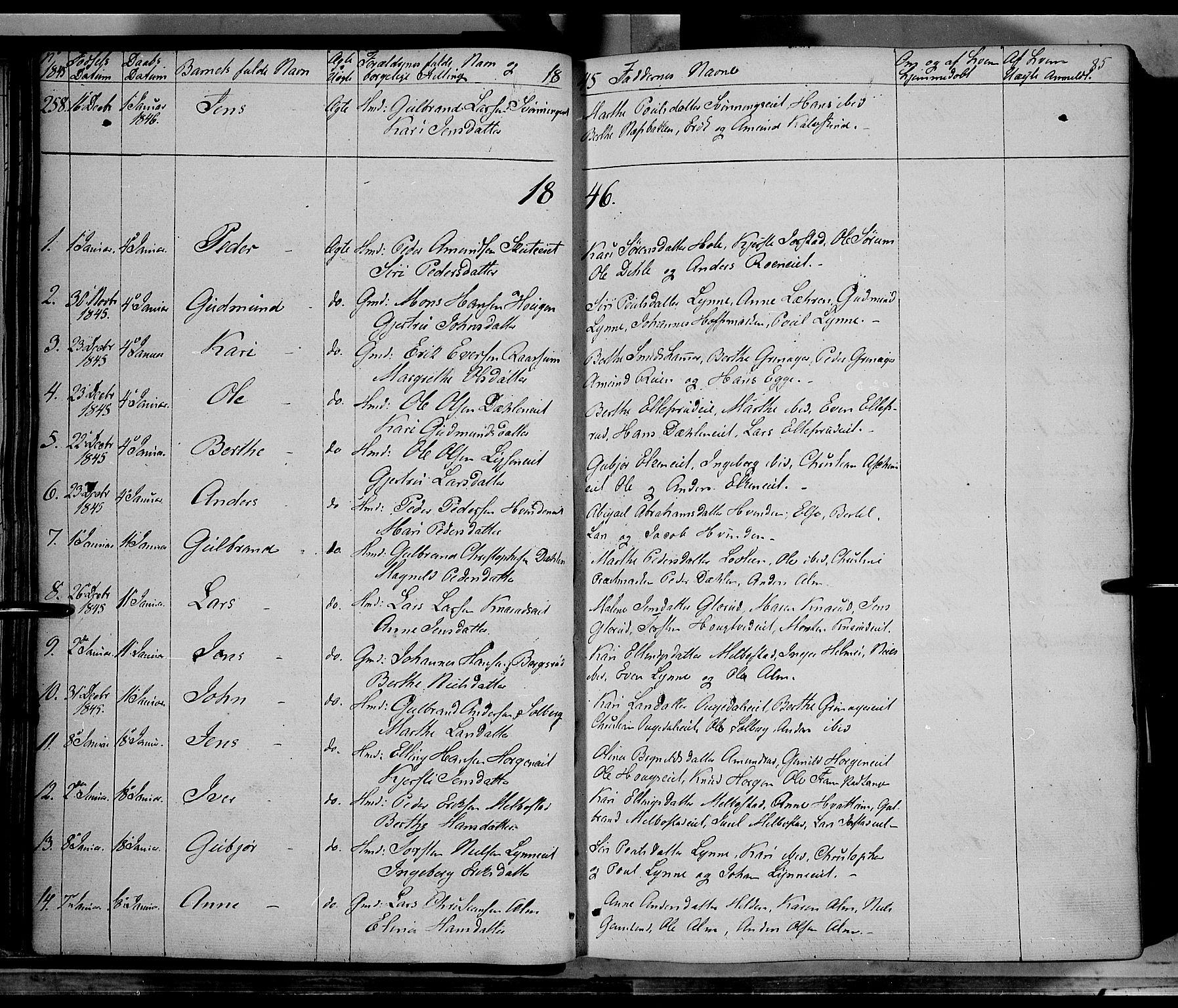 SAH, Gran prestekontor, Ministerialbok nr. 11, 1842-1856, s. 84-85