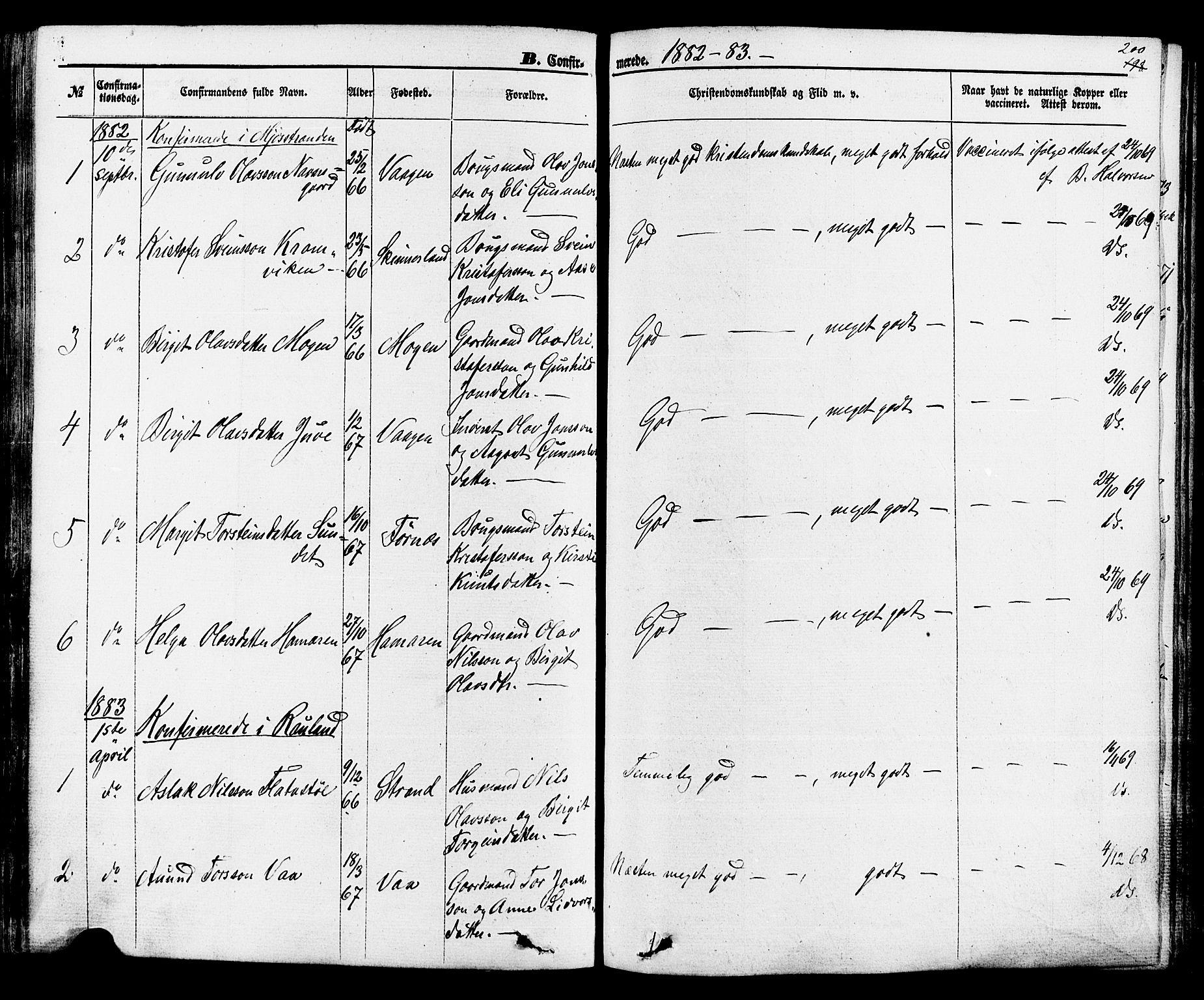 SAKO, Rauland kirkebøker, F/Fa/L0003: Ministerialbok nr. 3, 1859-1886, s. 200