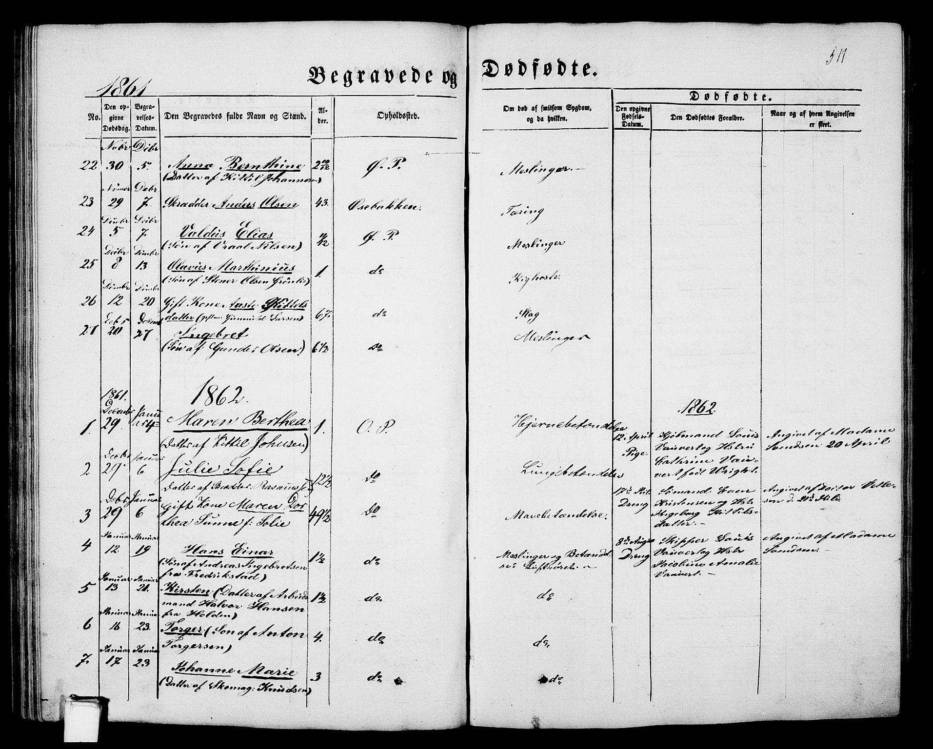 SAKO, Porsgrunn kirkebøker , G/Gb/L0004: Klokkerbok nr. II 4, 1853-1882, s. 511