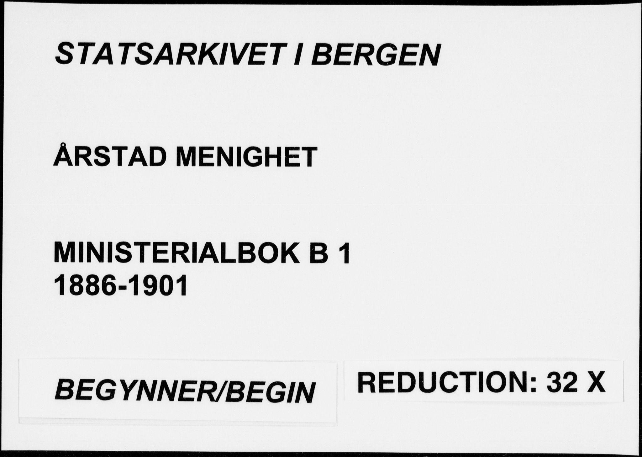 SAB, Årstad Sokneprestembete, H/Haa/L0006: Ministerialbok nr. B 1, 1886-1901
