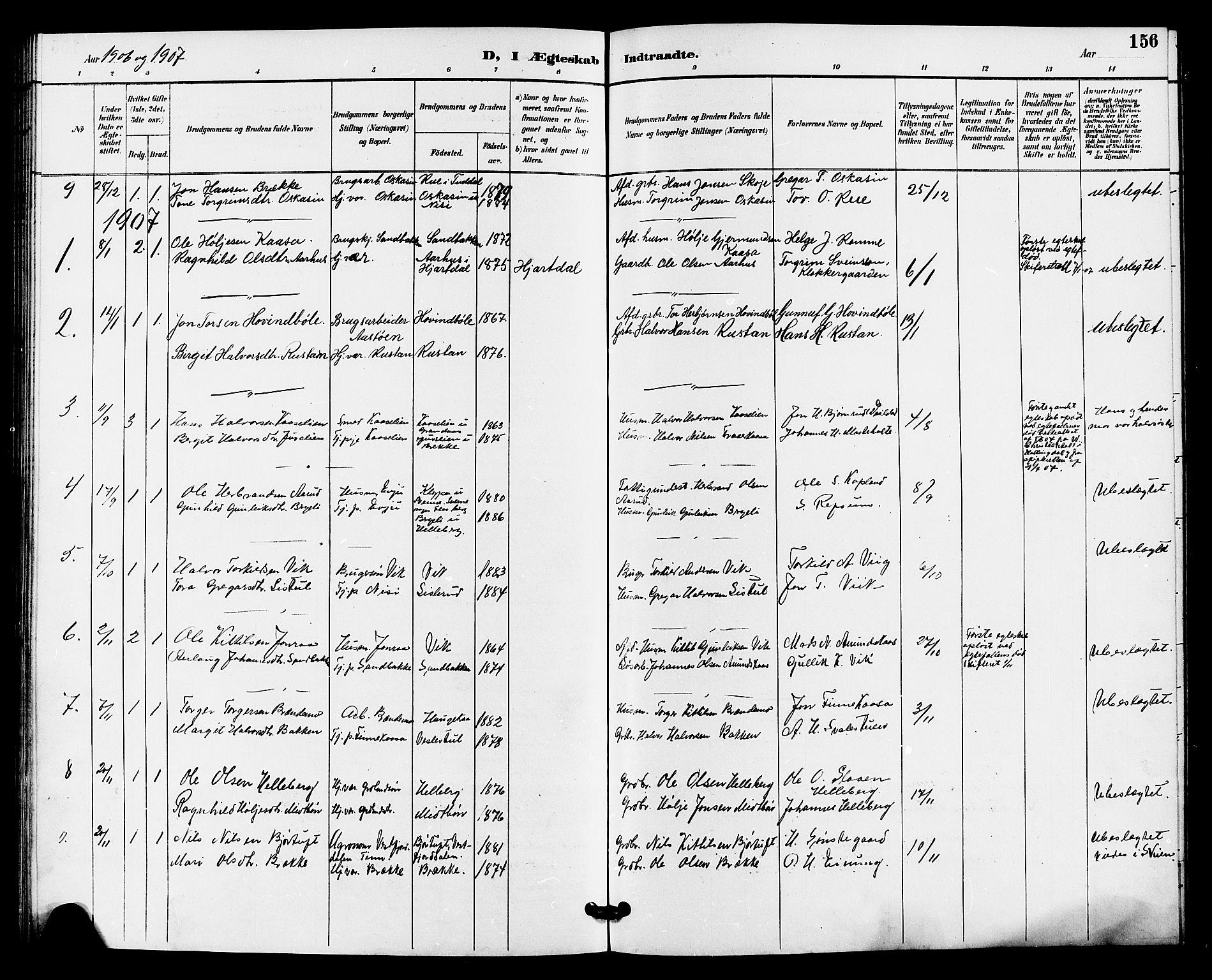 SAKO, Gransherad kirkebøker, G/Ga/L0003: Klokkerbok nr. I 3, 1887-1915, s. 156
