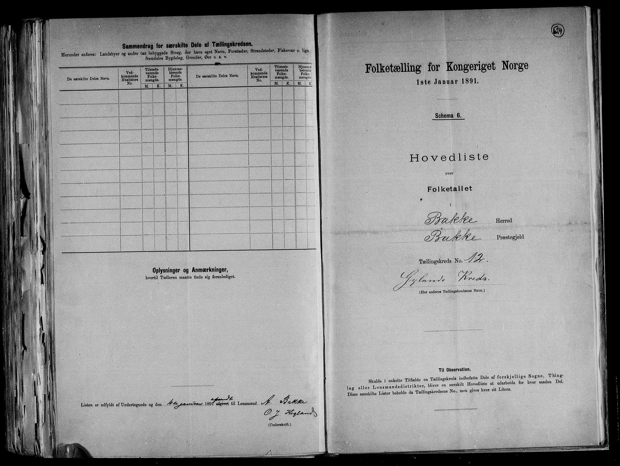 RA, Folketelling 1891 for 1045 Bakke herred, 1891, s. 27