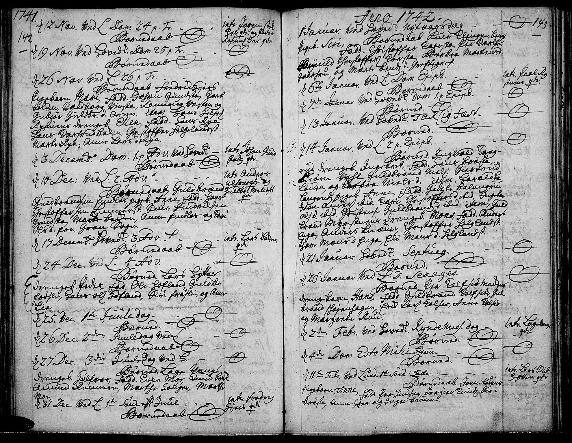 SAH, Jevnaker prestekontor, Ministerialbok nr. 2, 1725-1751, s. 142-143