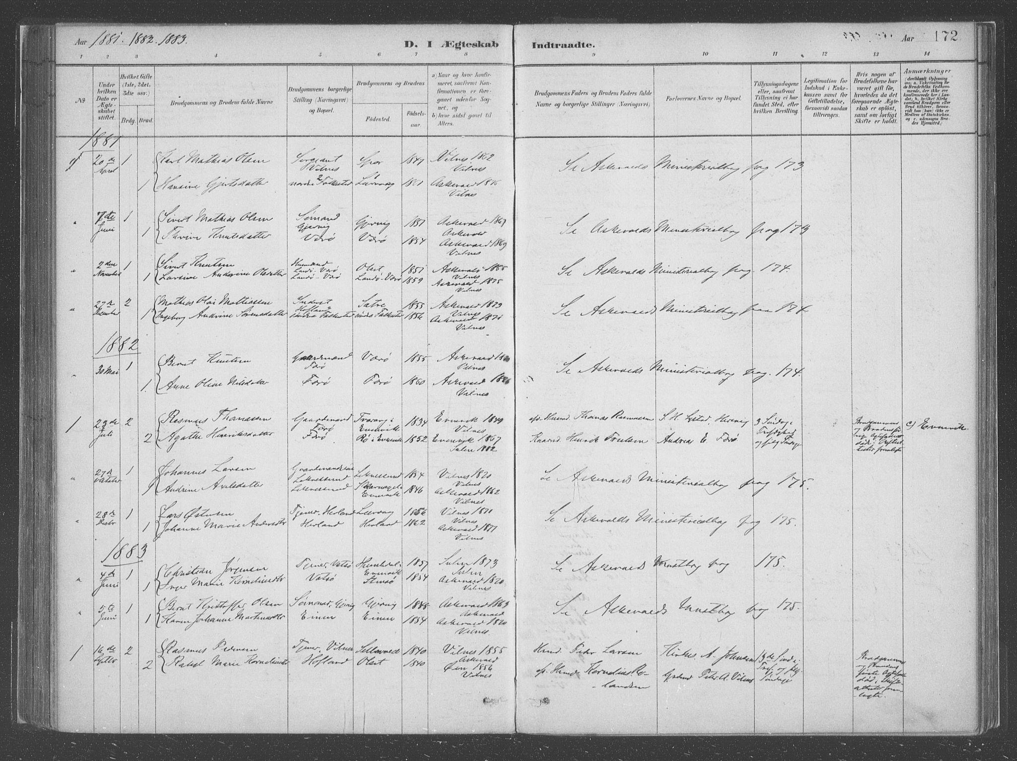 SAB, Askvoll Sokneprestembete, Ministerialbok nr. C  1, 1879-1922, s. 172