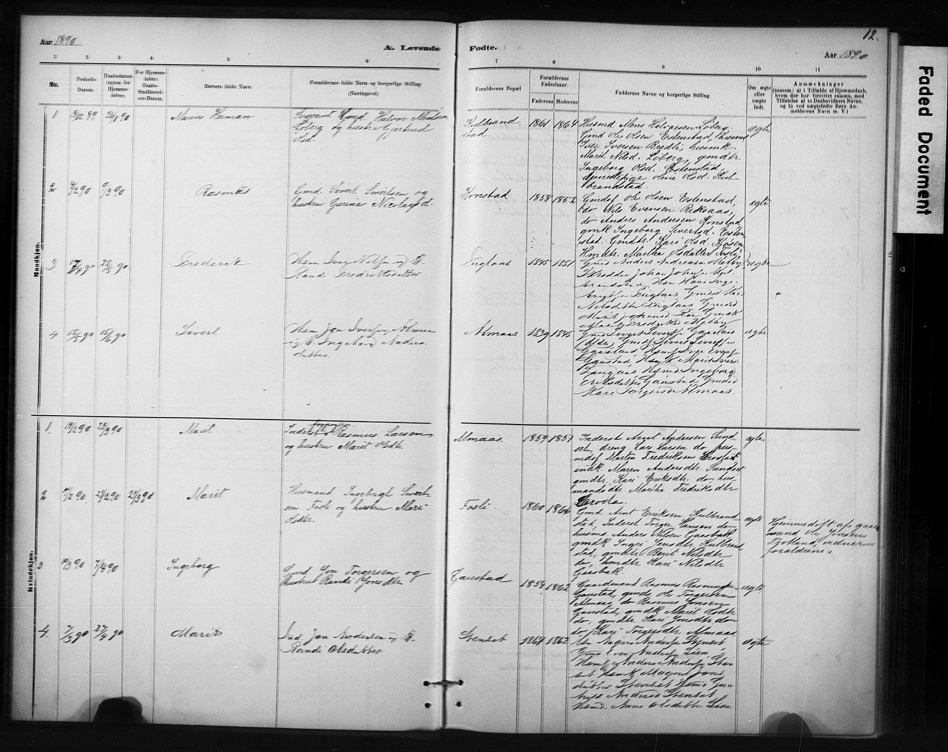 SAT, Ministerialprotokoller, klokkerbøker og fødselsregistre - Sør-Trøndelag, 694/L1127: Ministerialbok nr. 694A01, 1887-1905, s. 12