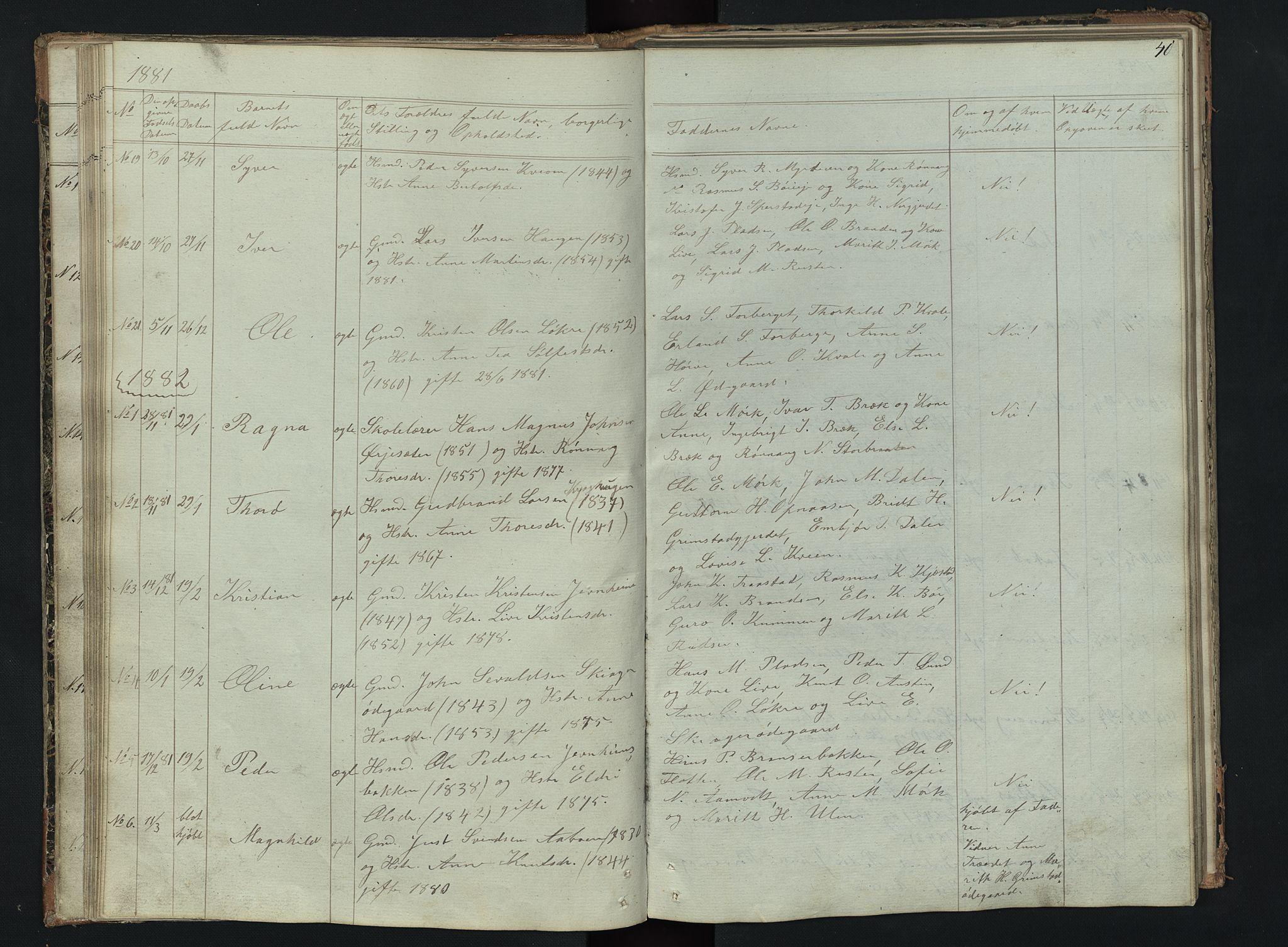 SAH, Skjåk prestekontor, Klokkerbok nr. 2, 1867-1894, s. 40