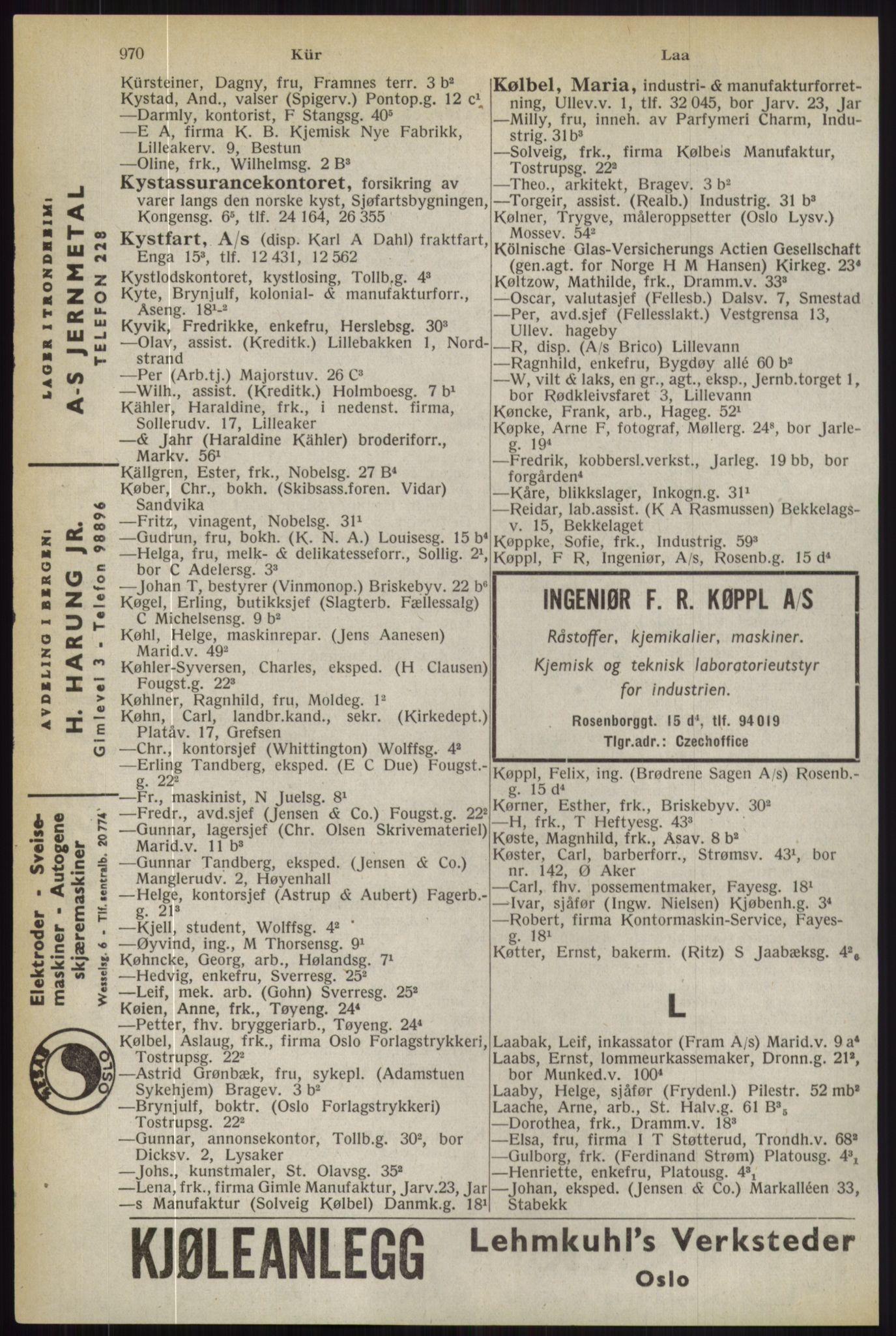 RA, Oslo adressebok (publikasjon)*, 1944, s. 970