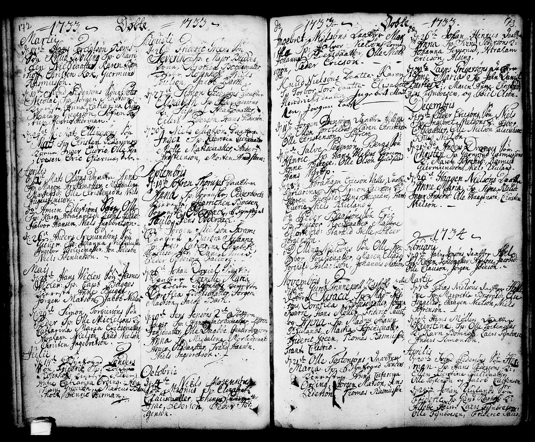 SAKO, Kragerø kirkebøker, F/Fa/L0001: Ministerialbok nr. 1, 1702-1766, s. 172-173