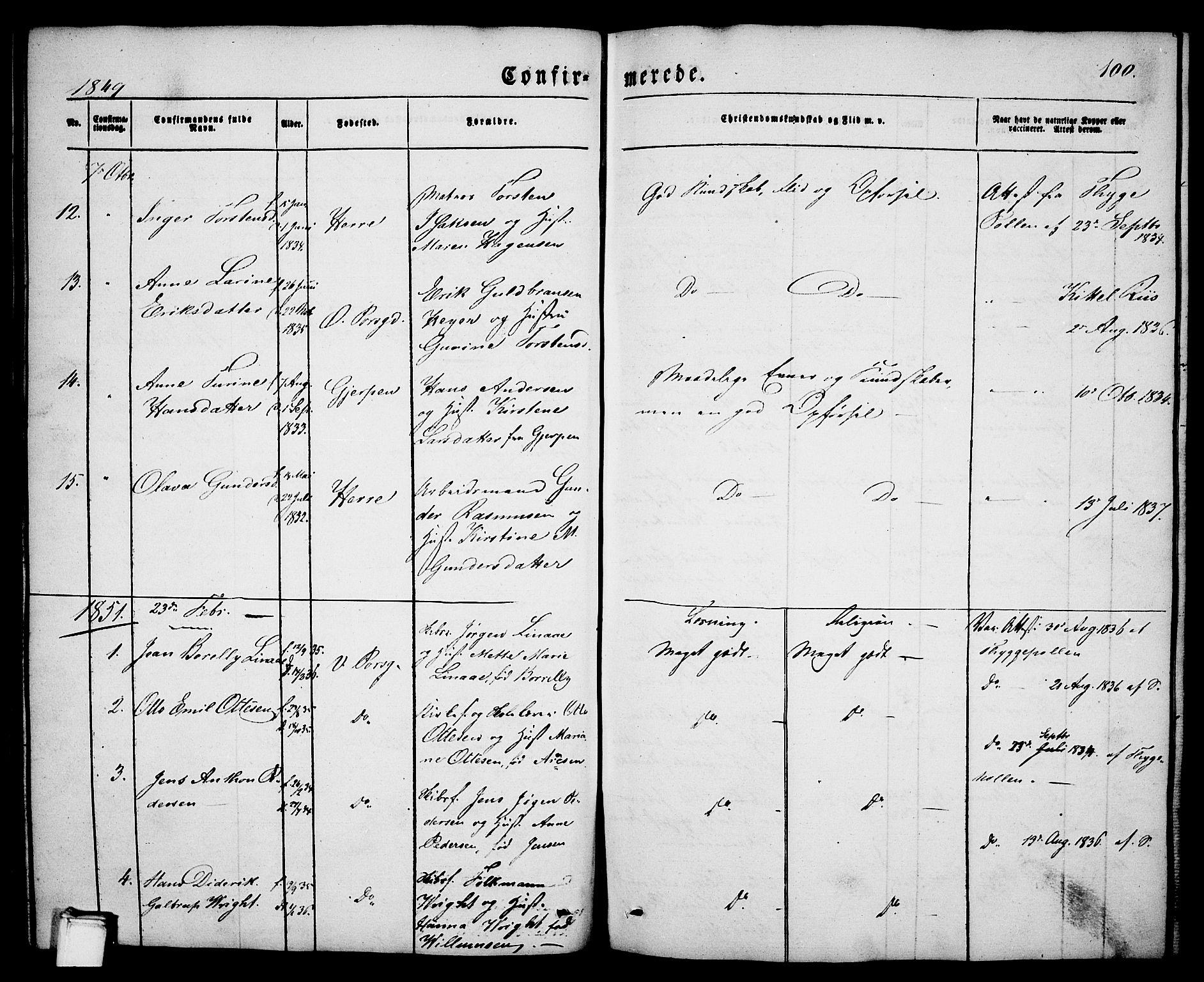 SAKO, Porsgrunn kirkebøker , G/Ga/L0002: Klokkerbok nr. I 2, 1847-1877, s. 100