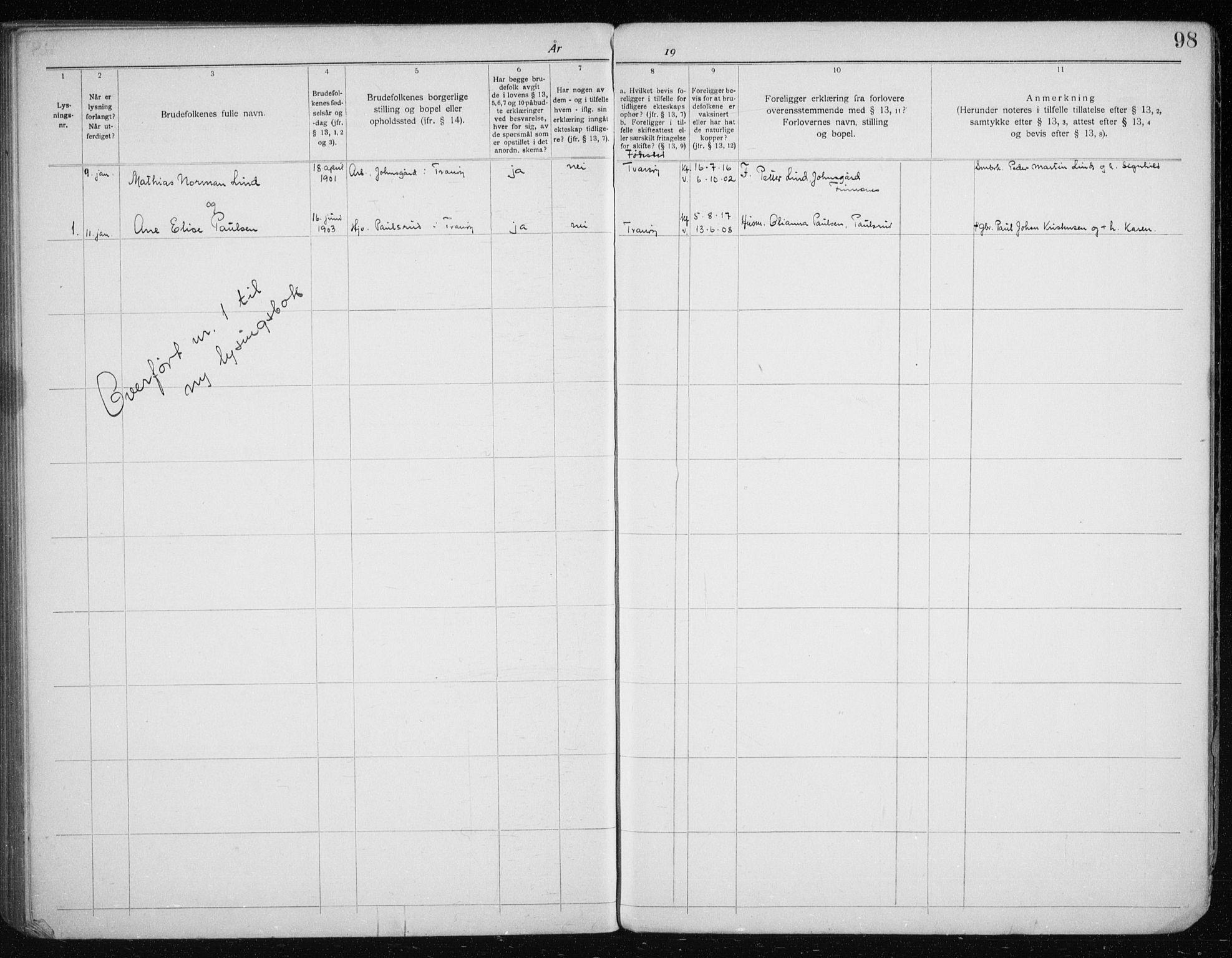 SATØ, Tranøy sokneprestkontor, J/Jc/L0053: Lysningsprotokoll nr. 53, 1919-1940, s. 98
