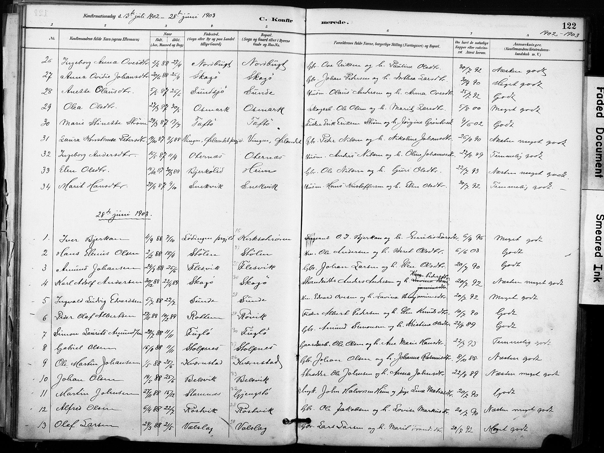 SAT, Ministerialprotokoller, klokkerbøker og fødselsregistre - Sør-Trøndelag, 633/L0518: Ministerialbok nr. 633A01, 1884-1906, s. 122