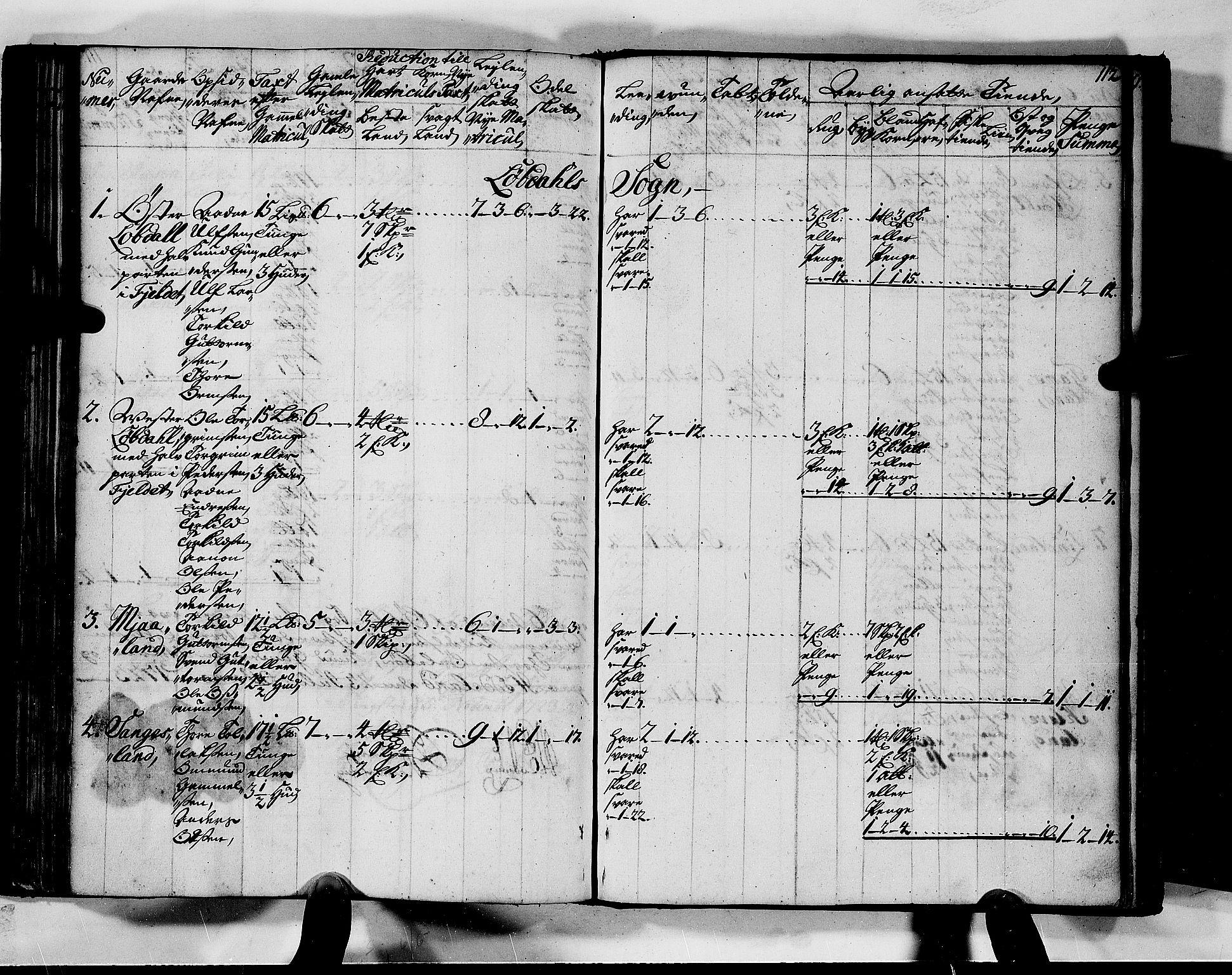 RA, Rentekammeret inntil 1814, Realistisk ordnet avdeling, N/Nb/Nbf/L0128: Mandal matrikkelprotokoll, 1723, s. 111b-112a
