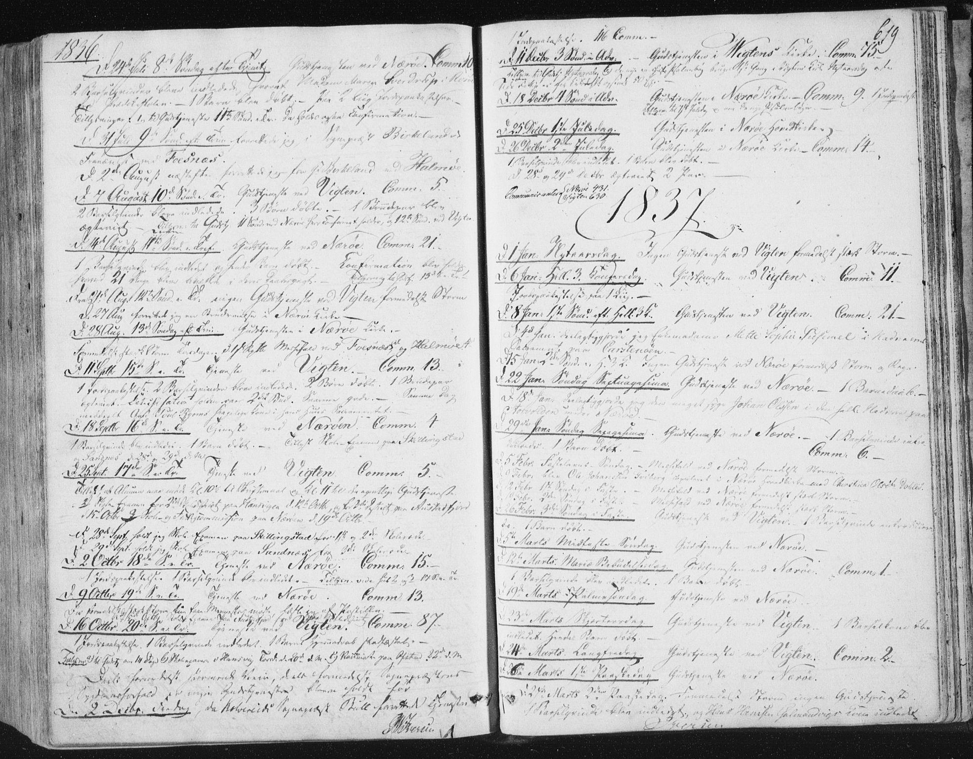 SAT, Ministerialprotokoller, klokkerbøker og fødselsregistre - Nord-Trøndelag, 784/L0669: Ministerialbok nr. 784A04, 1829-1859, s. 619