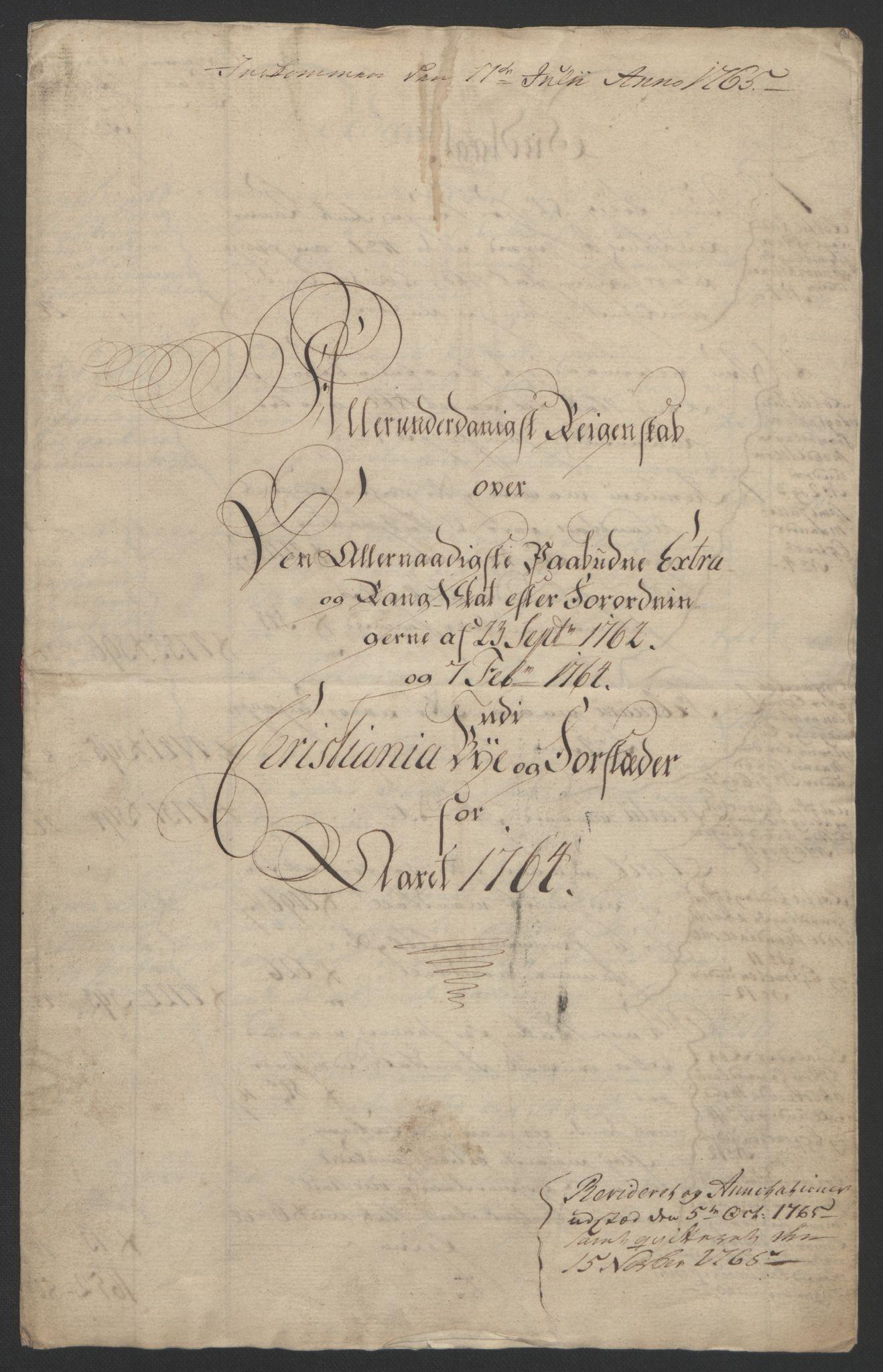 RA, Rentekammeret inntil 1814, Reviderte regnskaper, Byregnskaper, R/Re/L0072: [E13] Kontribusjonsregnskap, 1763-1764, s. 214
