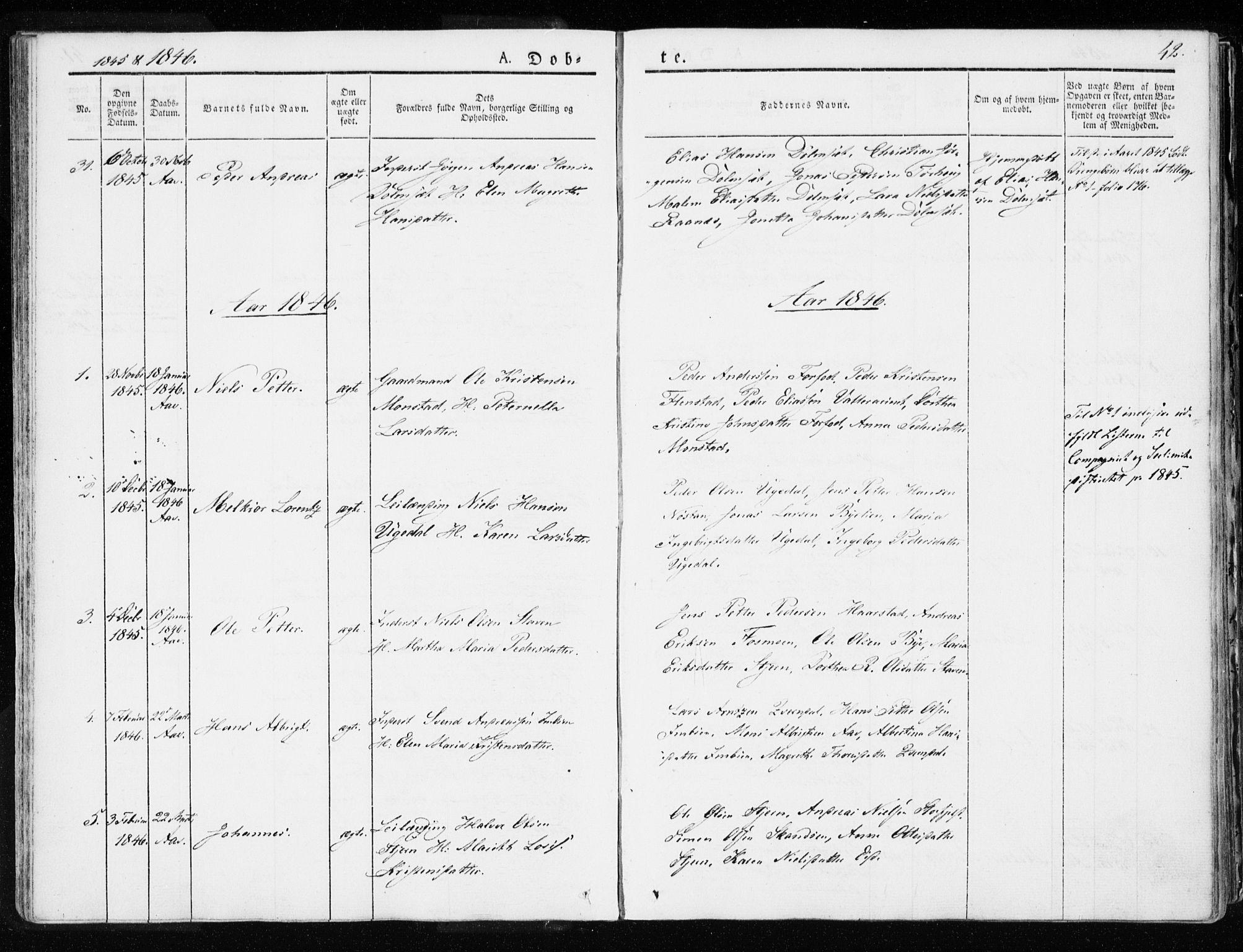 SAT, Ministerialprotokoller, klokkerbøker og fødselsregistre - Sør-Trøndelag, 655/L0676: Ministerialbok nr. 655A05, 1830-1847, s. 42