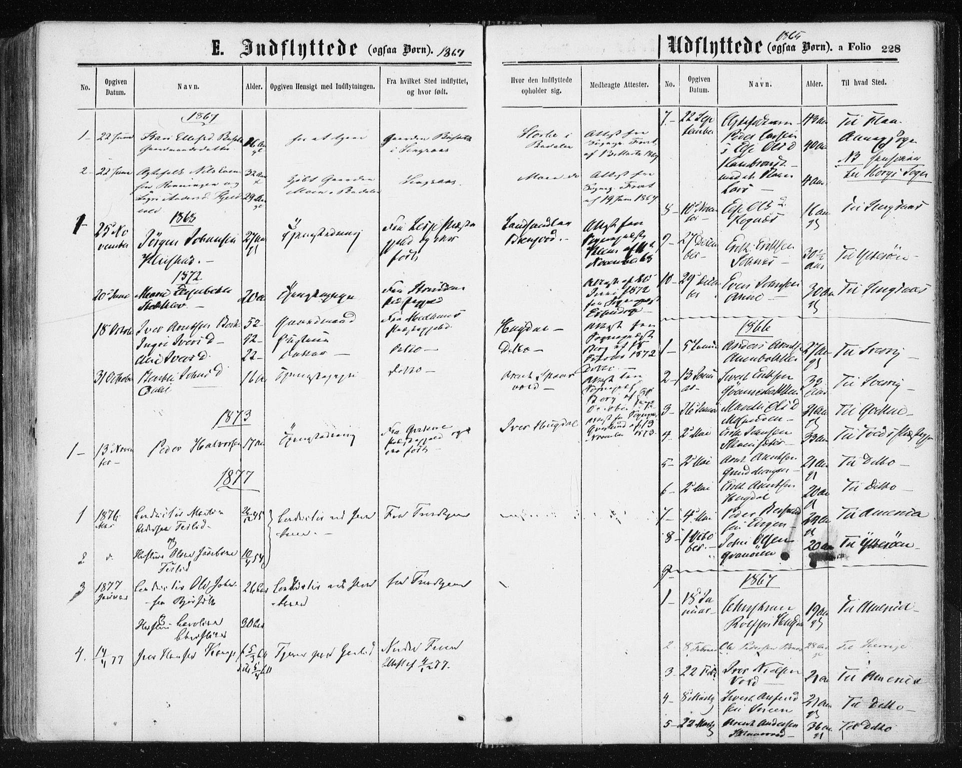 SAT, Ministerialprotokoller, klokkerbøker og fødselsregistre - Sør-Trøndelag, 687/L1001: Ministerialbok nr. 687A07, 1863-1878, s. 228