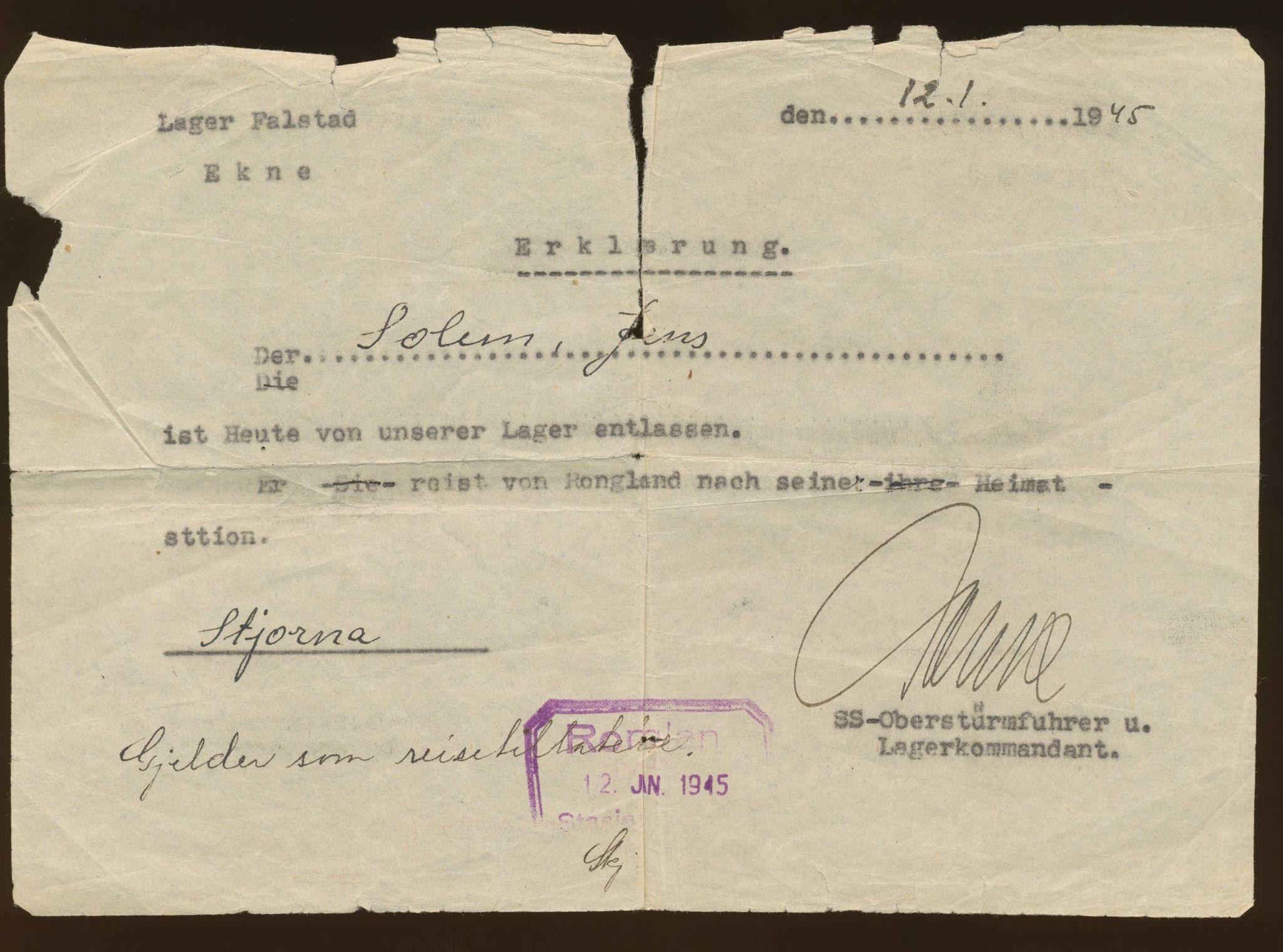 FSM, Falstadsenteret, dokumentsamling, F/L0442: Solem, Jens (1924), 1945, s. 1