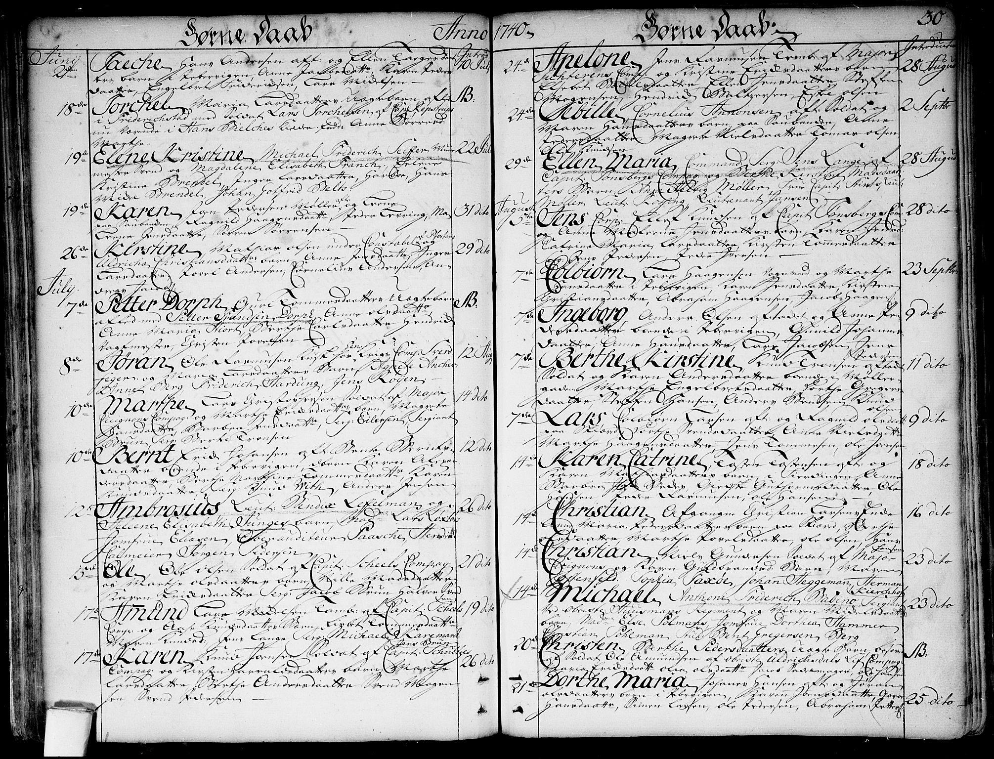 SAO, Garnisonsmenigheten Kirkebøker, F/Fa/L0001: Ministerialbok nr. 1, 1734-1756, s. 30