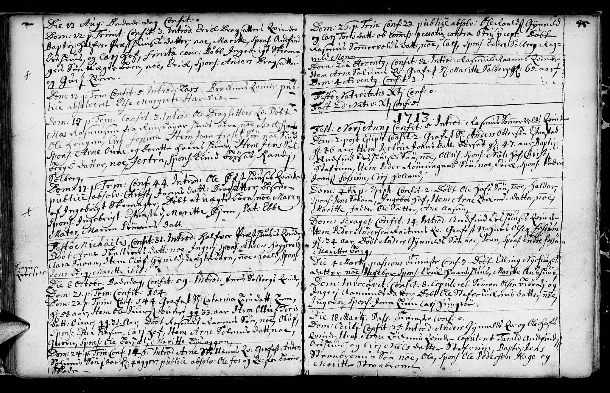 SAT, Ministerialprotokoller, klokkerbøker og fødselsregistre - Sør-Trøndelag, 689/L1036: Ministerialbok nr. 689A01, 1696-1746, s. 45
