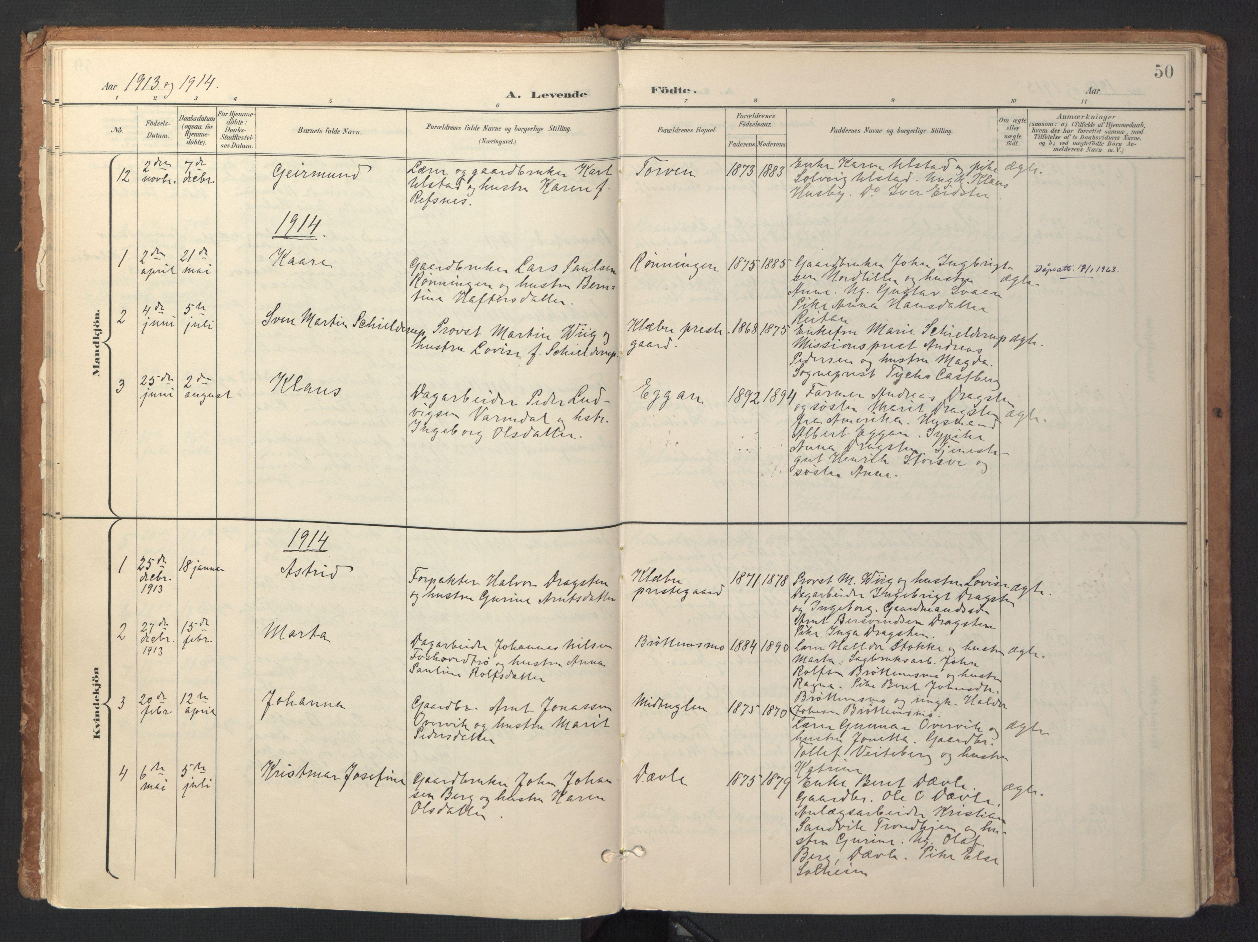 SAT, Ministerialprotokoller, klokkerbøker og fødselsregistre - Sør-Trøndelag, 618/L0448: Ministerialbok nr. 618A11, 1898-1916, s. 50