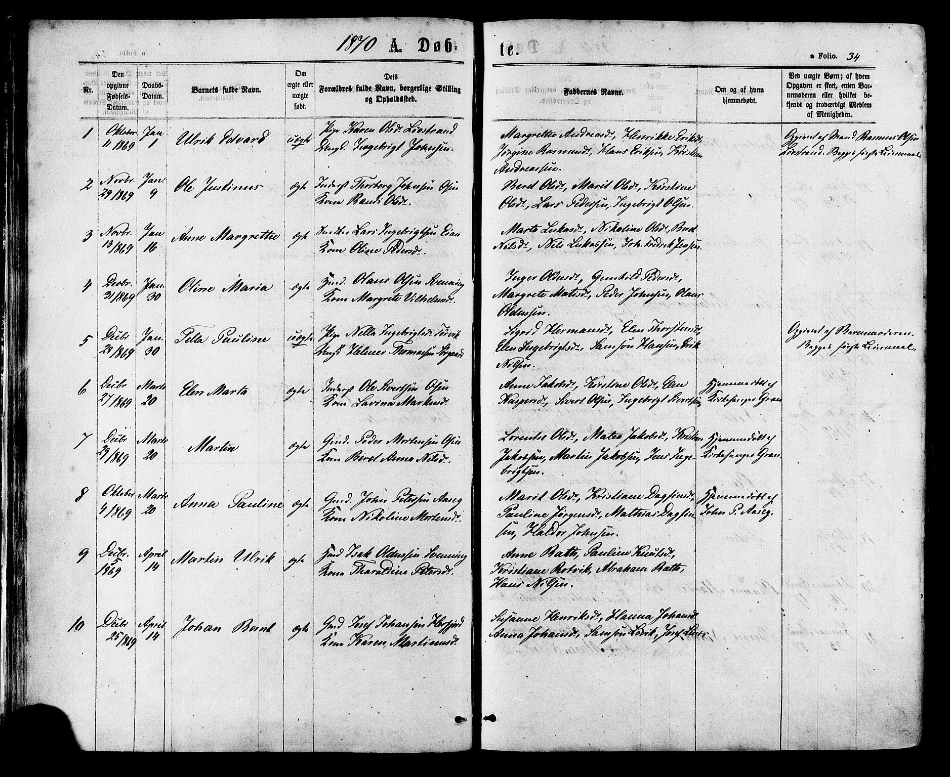 SAT, Ministerialprotokoller, klokkerbøker og fødselsregistre - Sør-Trøndelag, 657/L0706: Ministerialbok nr. 657A07, 1867-1878, s. 34