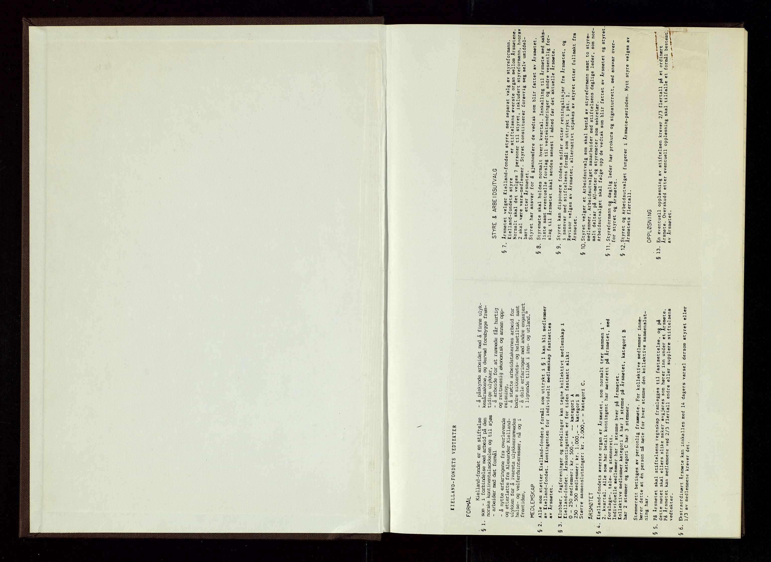 SAST, Pa 1660 - Kielland- fondet, A/Aa/L0001: Styreprotokoll Kielland- fondet, 1981-1995