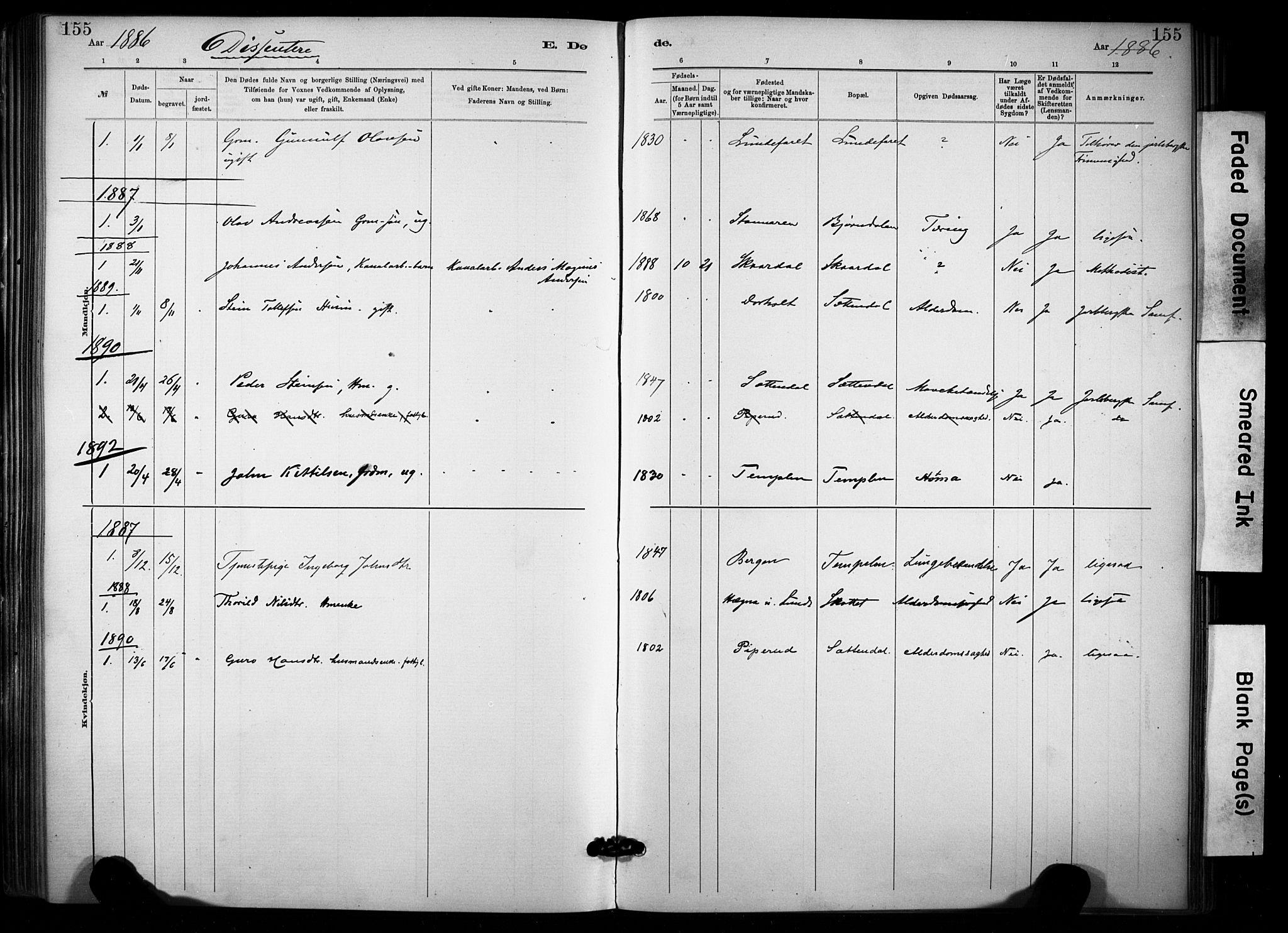 SAKO, Lunde kirkebøker, F/Fa/L0002: Ministerialbok nr. I 2, 1884-1892, s. 155