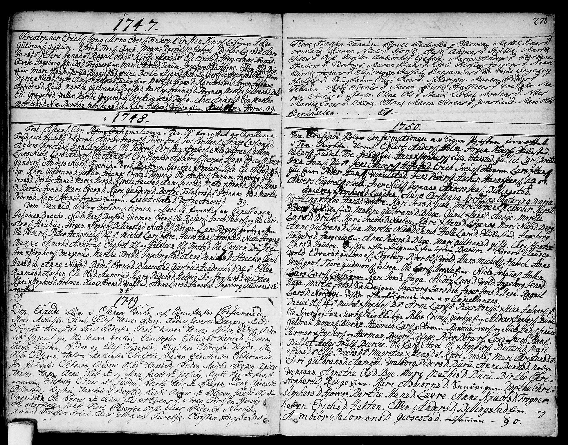 SAO, Asker prestekontor Kirkebøker, F/Fa/L0002: Ministerialbok nr. I 2, 1733-1766, s. 278