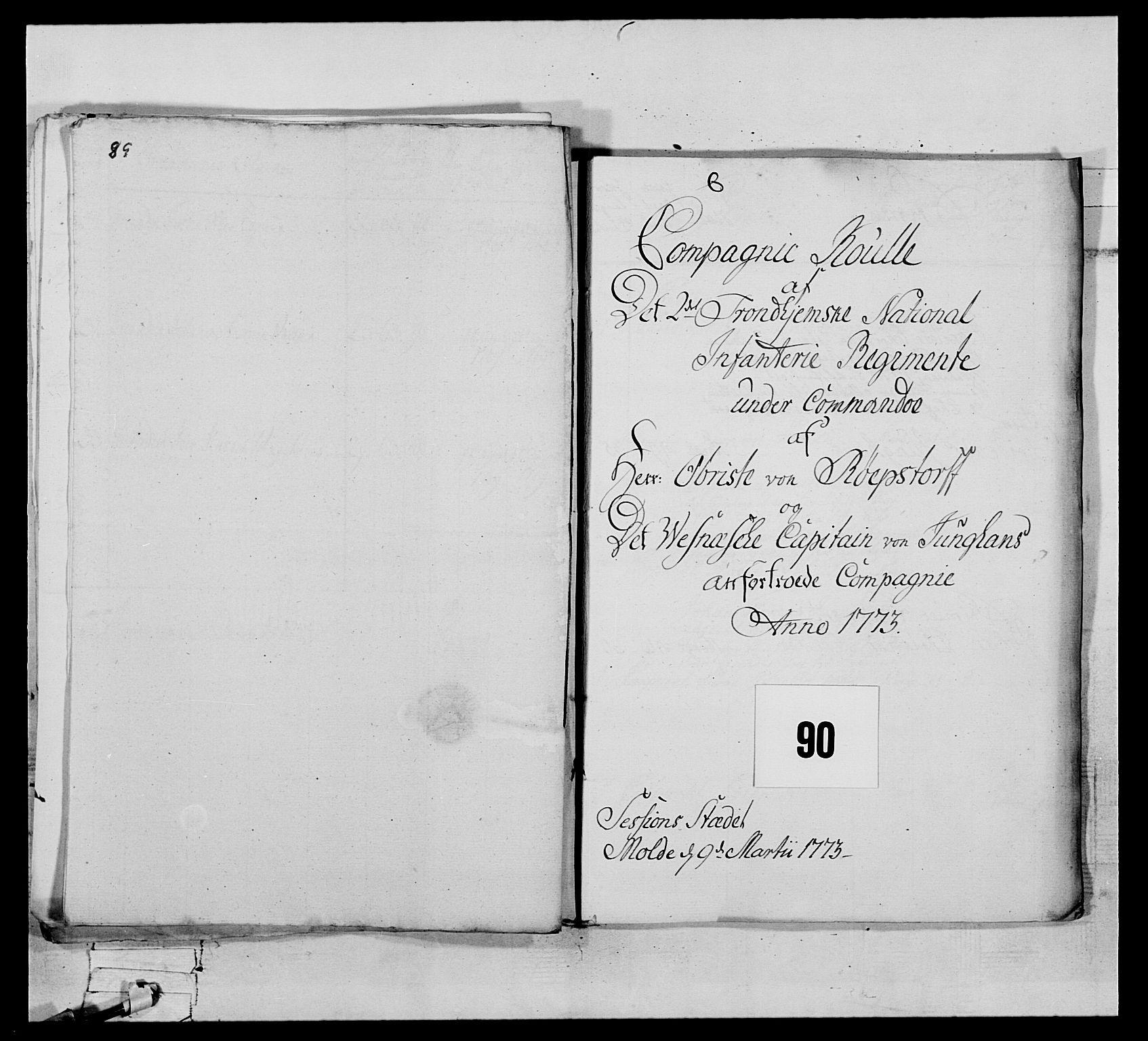 RA, Generalitets- og kommissariatskollegiet, Det kongelige norske kommissariatskollegium, E/Eh/L0076: 2. Trondheimske nasjonale infanteriregiment, 1766-1773, s. 509