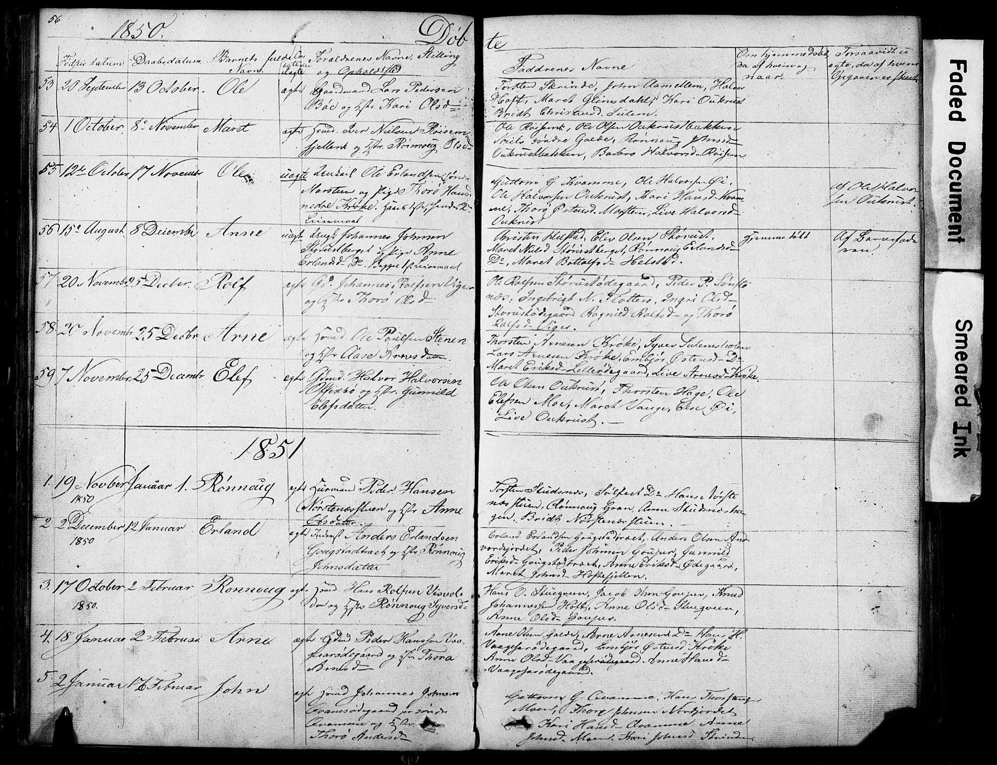 SAH, Lom prestekontor, L/L0012: Klokkerbok nr. 12, 1845-1873, s. 56-57