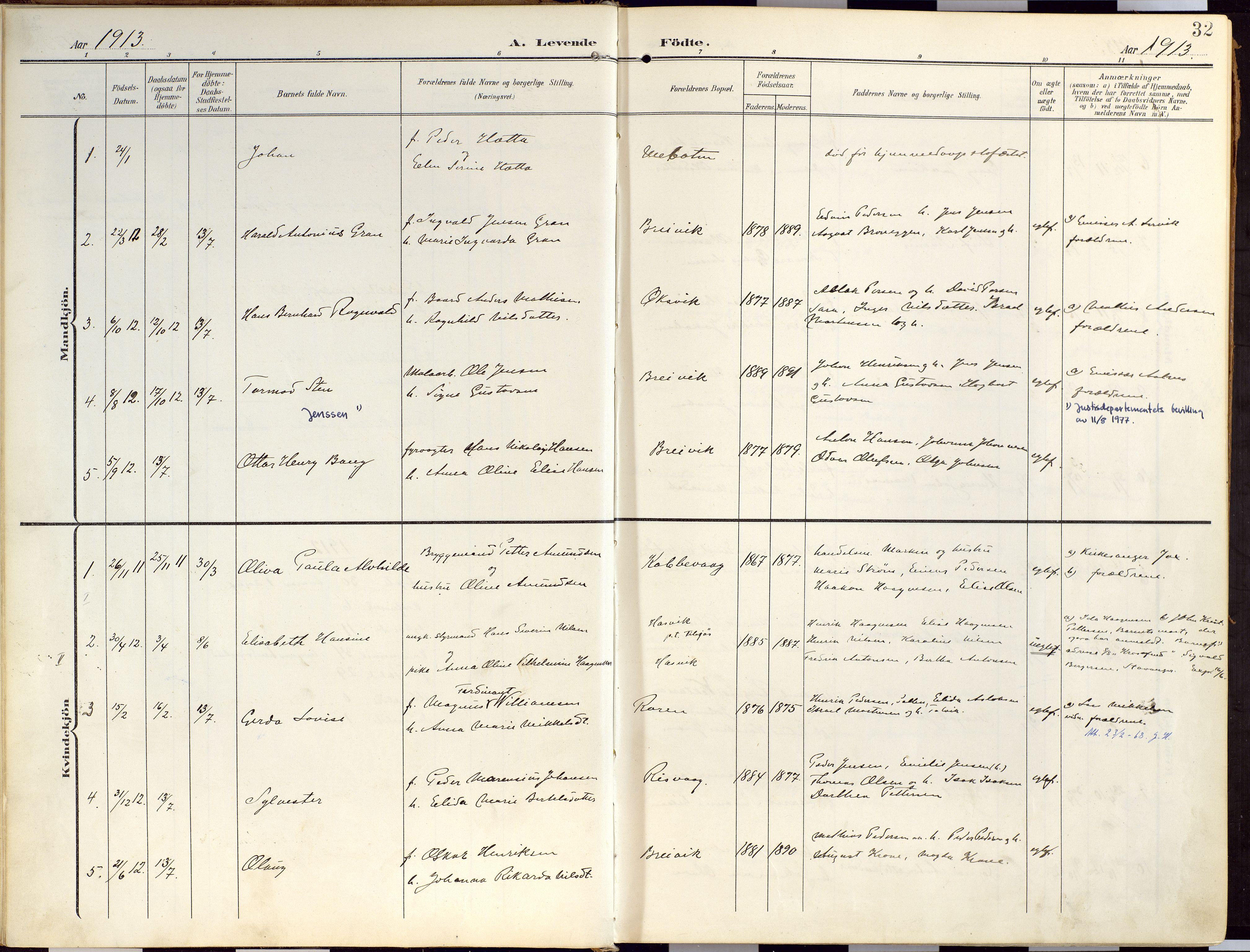 SATØ, Loppa sokneprestkontor, H/Ha/L0010kirke: Ministerialbok nr. 10, 1907-1922, s. 32