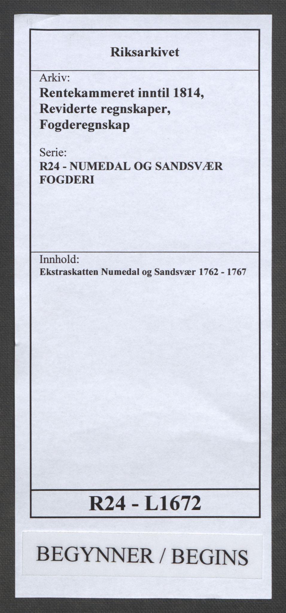 RA, Rentekammeret inntil 1814, Reviderte regnskaper, Fogderegnskap, R24/L1672: Ekstraskatten Numedal og Sandsvær, 1762-1767, s. 1