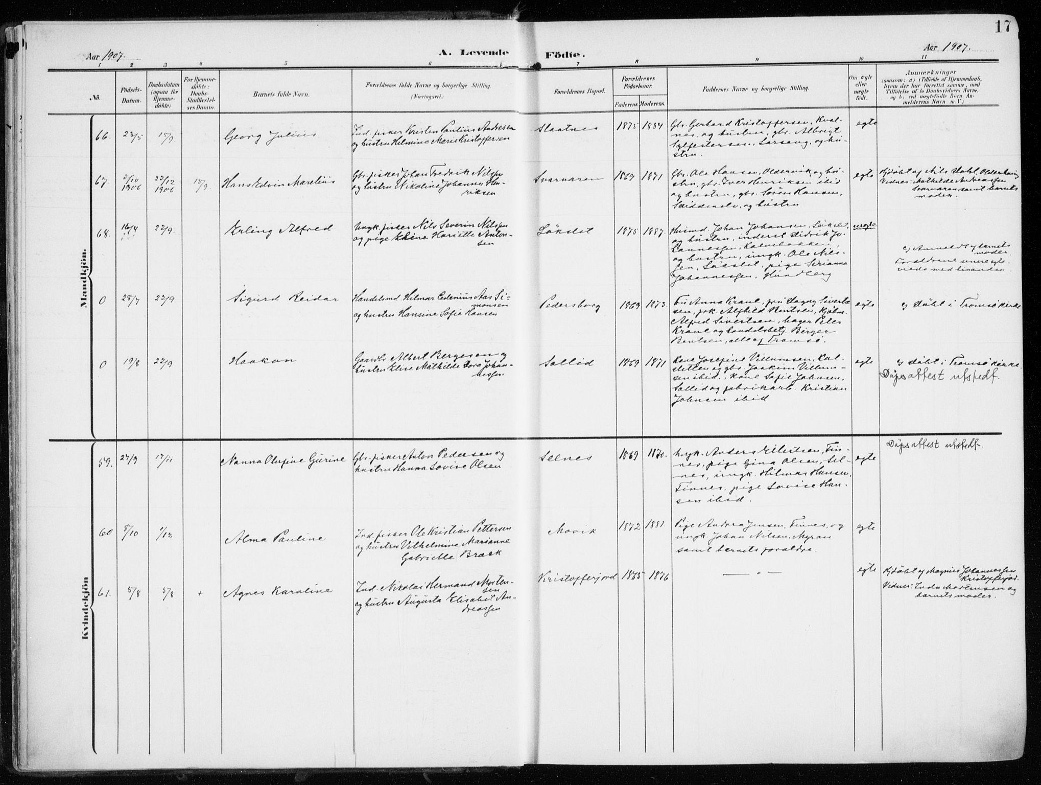 SATØ, Tromsøysund sokneprestkontor, G/Ga/L0007kirke: Ministerialbok nr. 7, 1907-1914, s. 17