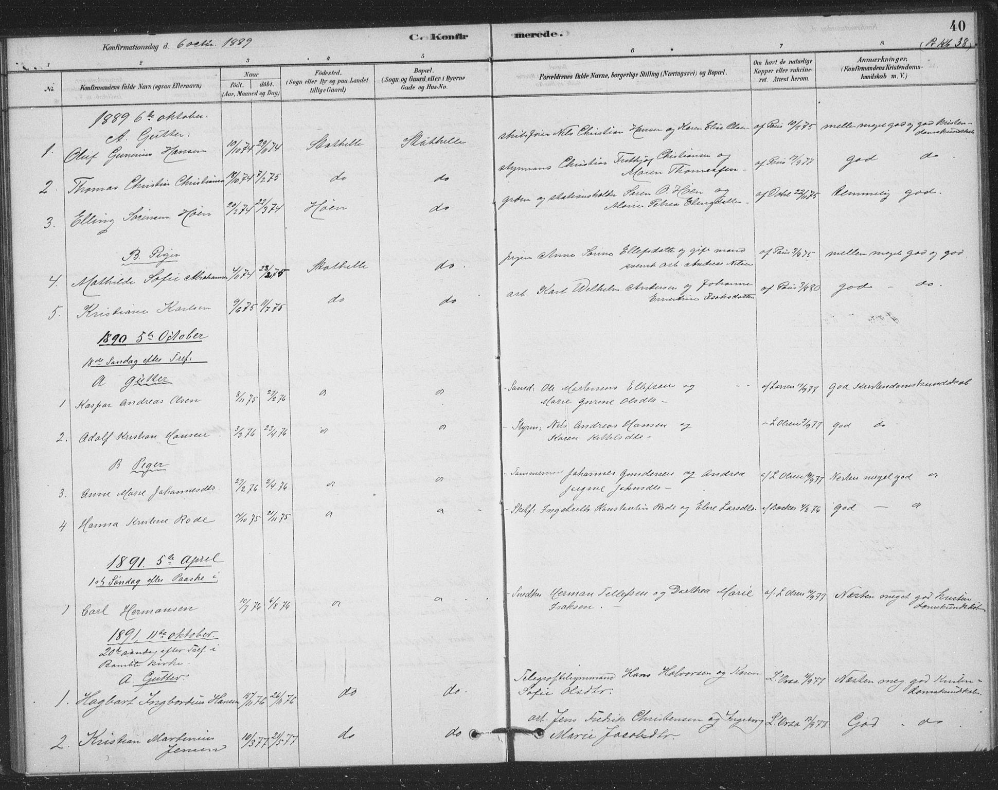 SAKO, Bamble kirkebøker, F/Fb/L0001: Ministerialbok nr. II 1, 1878-1899, s. 40