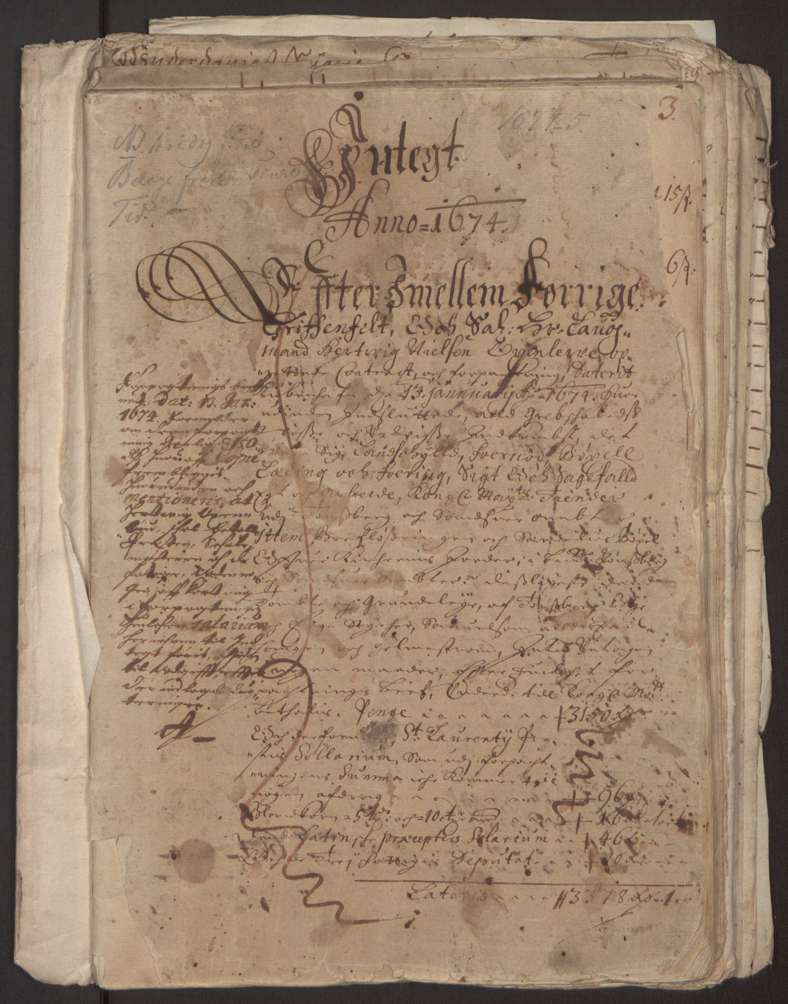 RA, Rentekammeret inntil 1814, Reviderte regnskaper, Fogderegnskap, R32/L1843: Fogderegnskap Jarlsberg grevskap, 1674-1675, s. 3