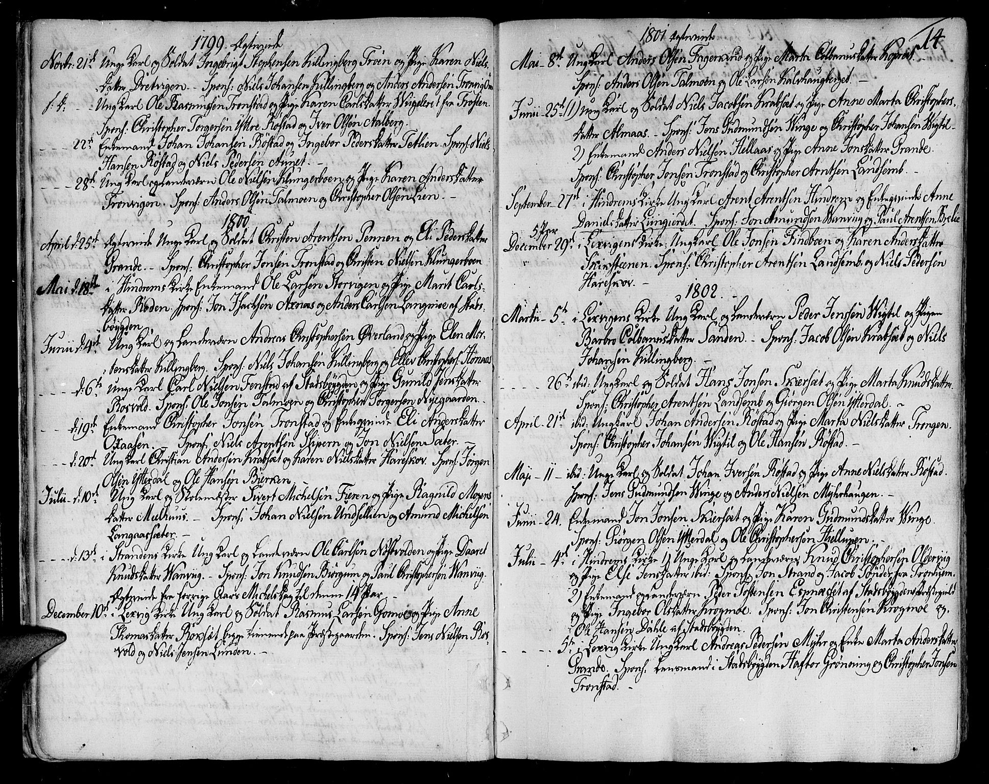 SAT, Ministerialprotokoller, klokkerbøker og fødselsregistre - Nord-Trøndelag, 701/L0004: Ministerialbok nr. 701A04, 1783-1816, s. 14