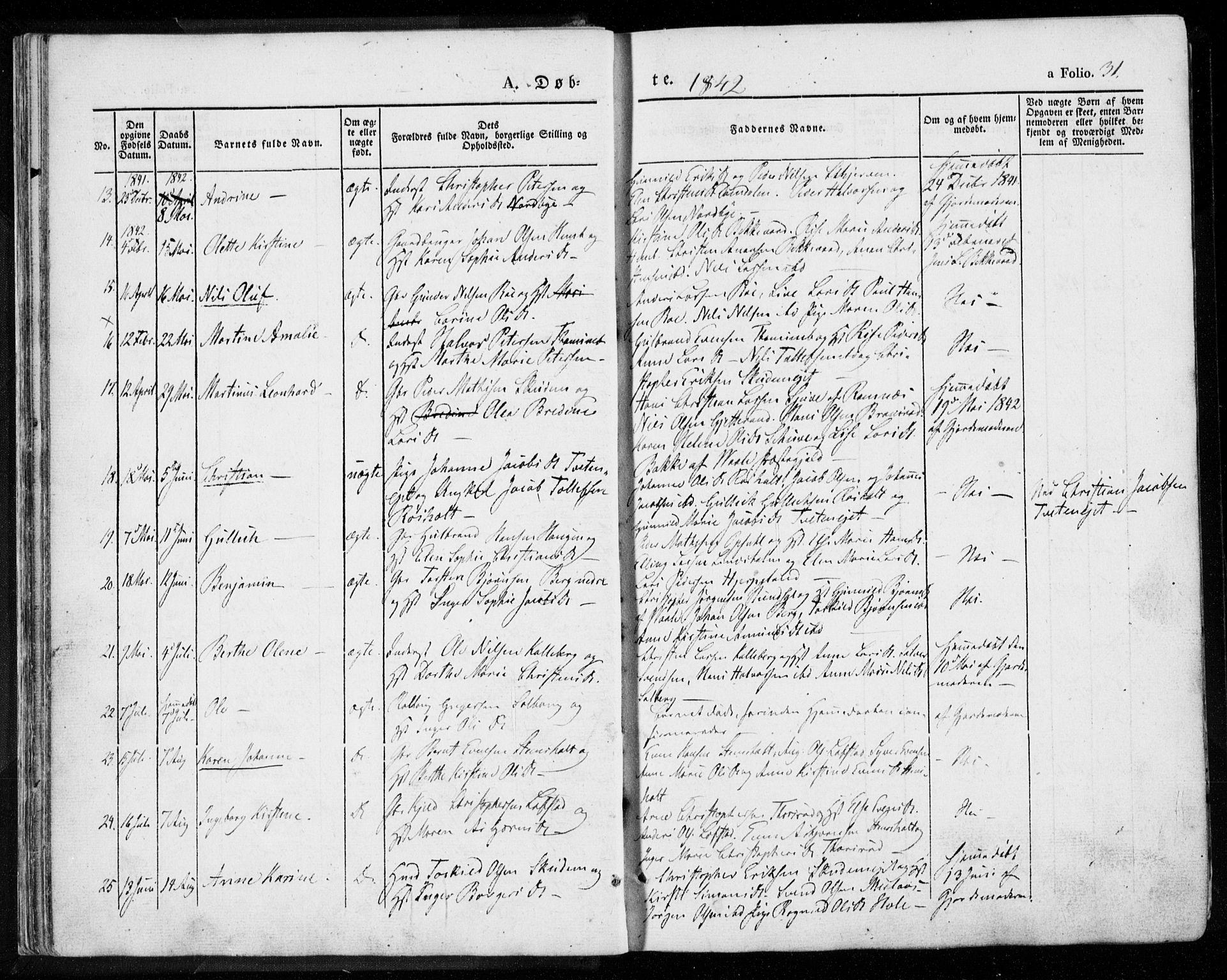 SAKO, Lardal kirkebøker, F/Fa/L0006: Ministerialbok nr. I 6, 1835-1860, s. 31