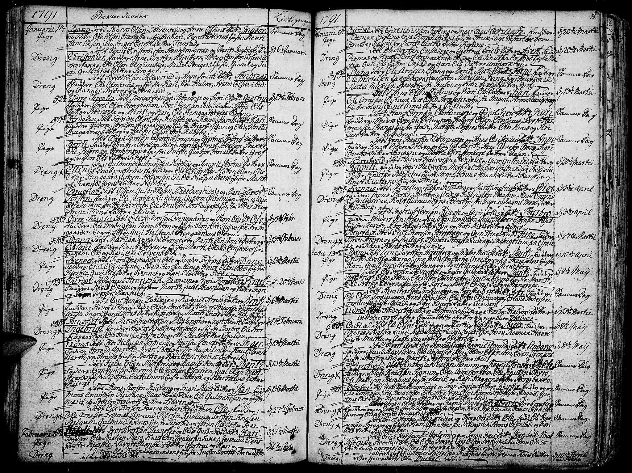 SAH, Aurdal prestekontor, Ministerialbok nr. 6, 1781-1804, s. 55