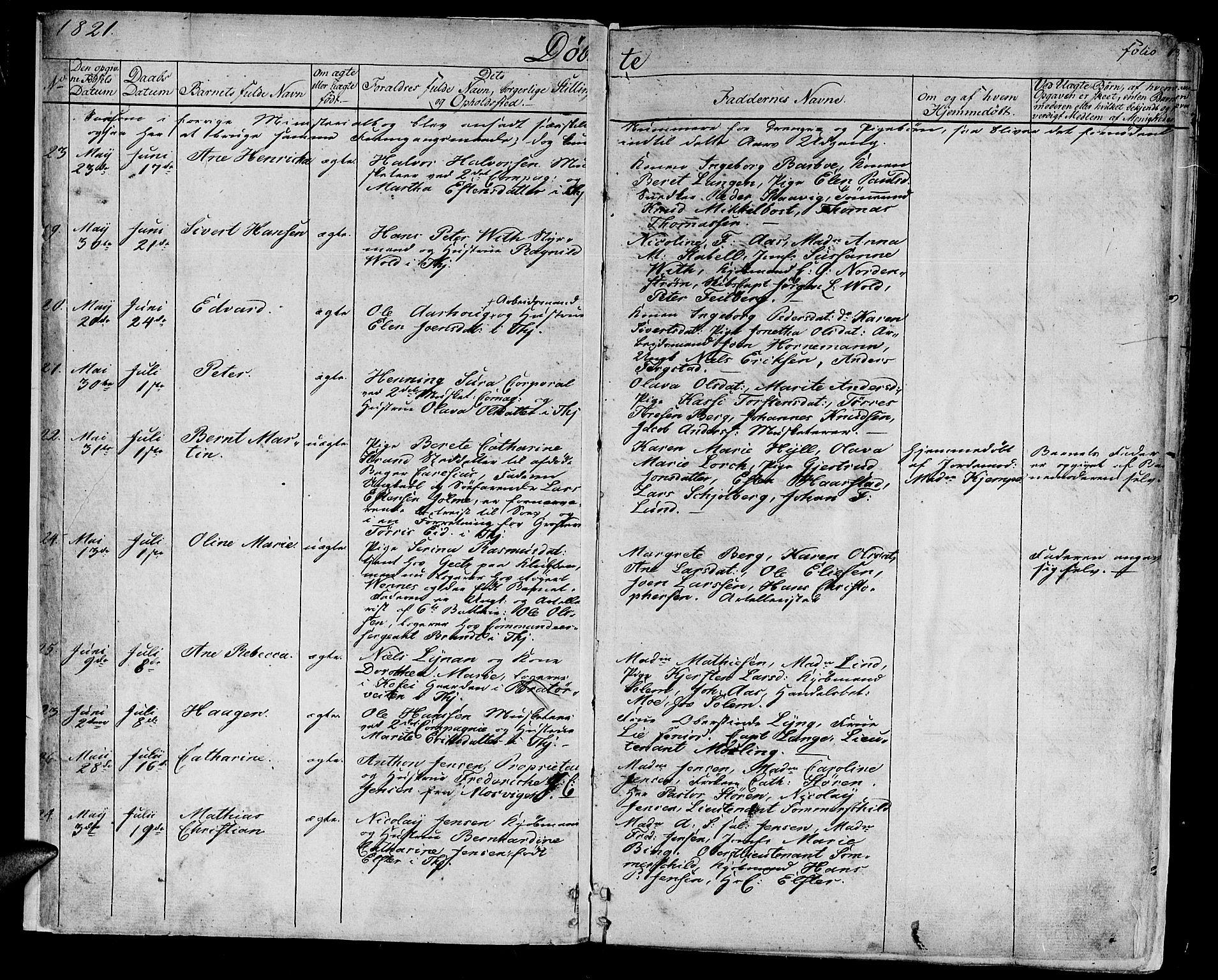 SAT, Ministerialprotokoller, klokkerbøker og fødselsregistre - Sør-Trøndelag, 602/L0108: Ministerialbok nr. 602A06, 1821-1839, s. 1