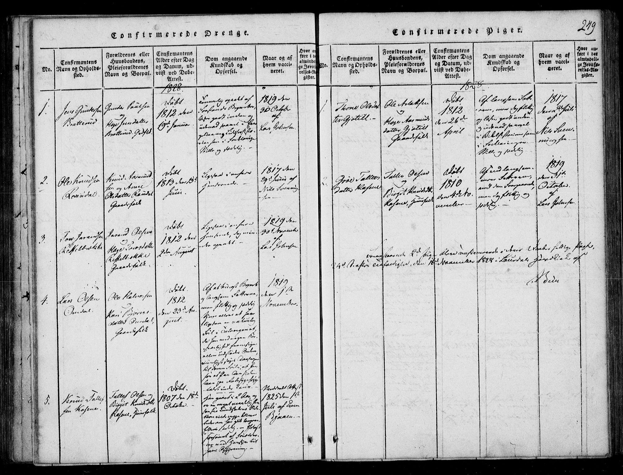 SAKO, Lårdal kirkebøker, F/Fb/L0001: Ministerialbok nr. II 1, 1815-1860, s. 249