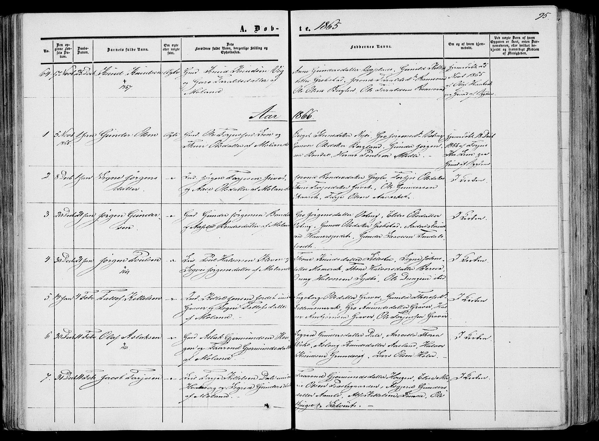 SAKO, Fyresdal kirkebøker, F/Fa/L0005: Ministerialbok nr. I 5, 1855-1871, s. 95