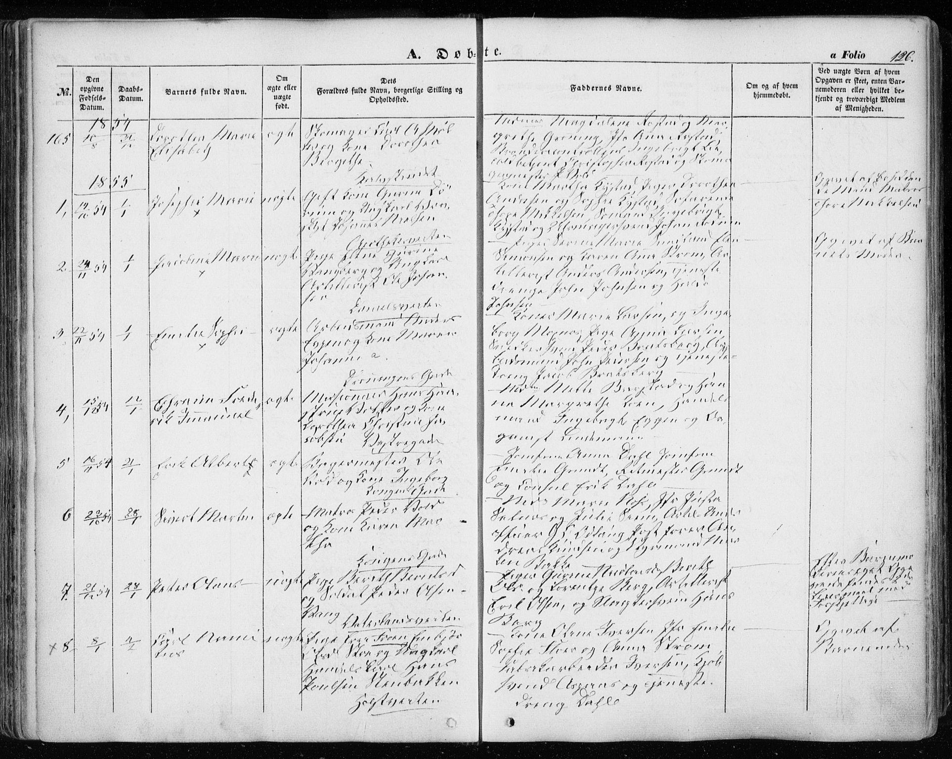 SAT, Ministerialprotokoller, klokkerbøker og fødselsregistre - Sør-Trøndelag, 601/L0051: Ministerialbok nr. 601A19, 1848-1857, s. 126