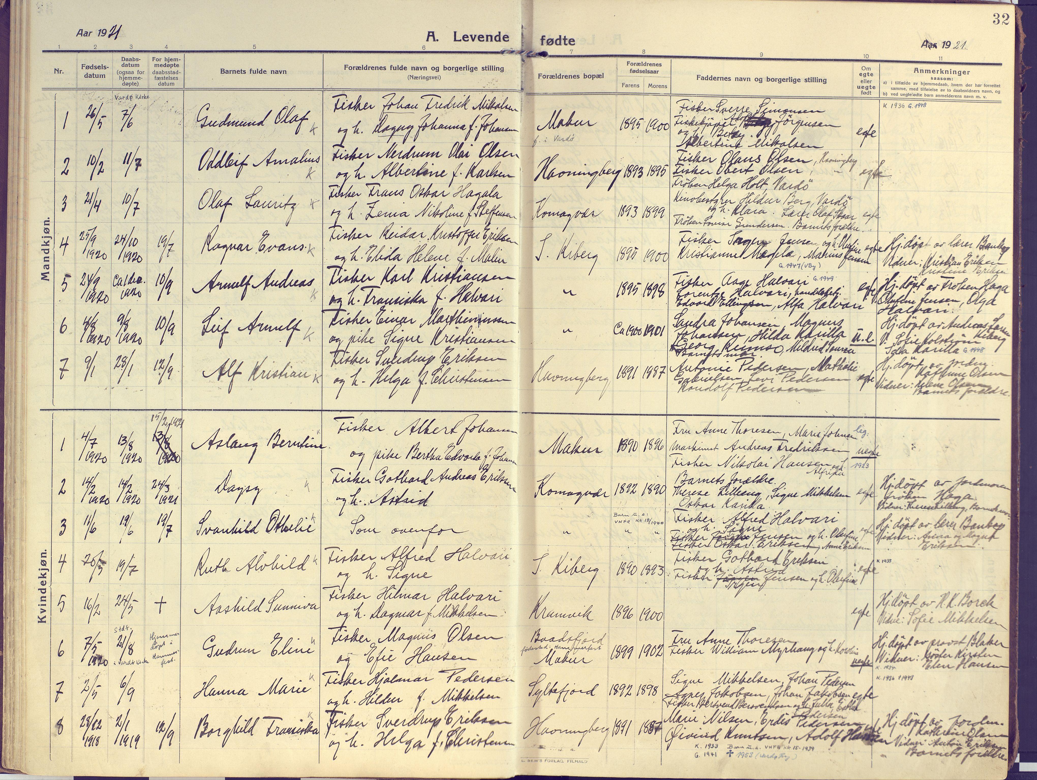 SATØ, Vardø sokneprestkontor, H/Ha/L0013kirke: Ministerialbok nr. 13, 1912-1928, s. 32