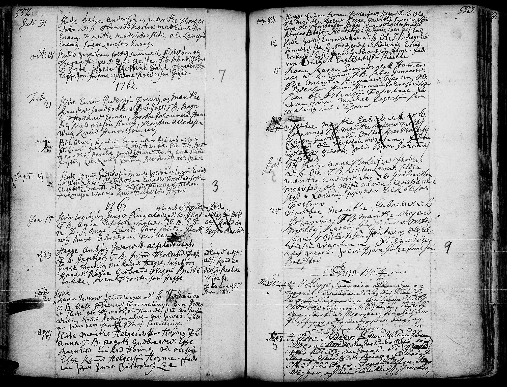 SAH, Slidre prestekontor, Ministerialbok nr. 1, 1724-1814, s. 552-553