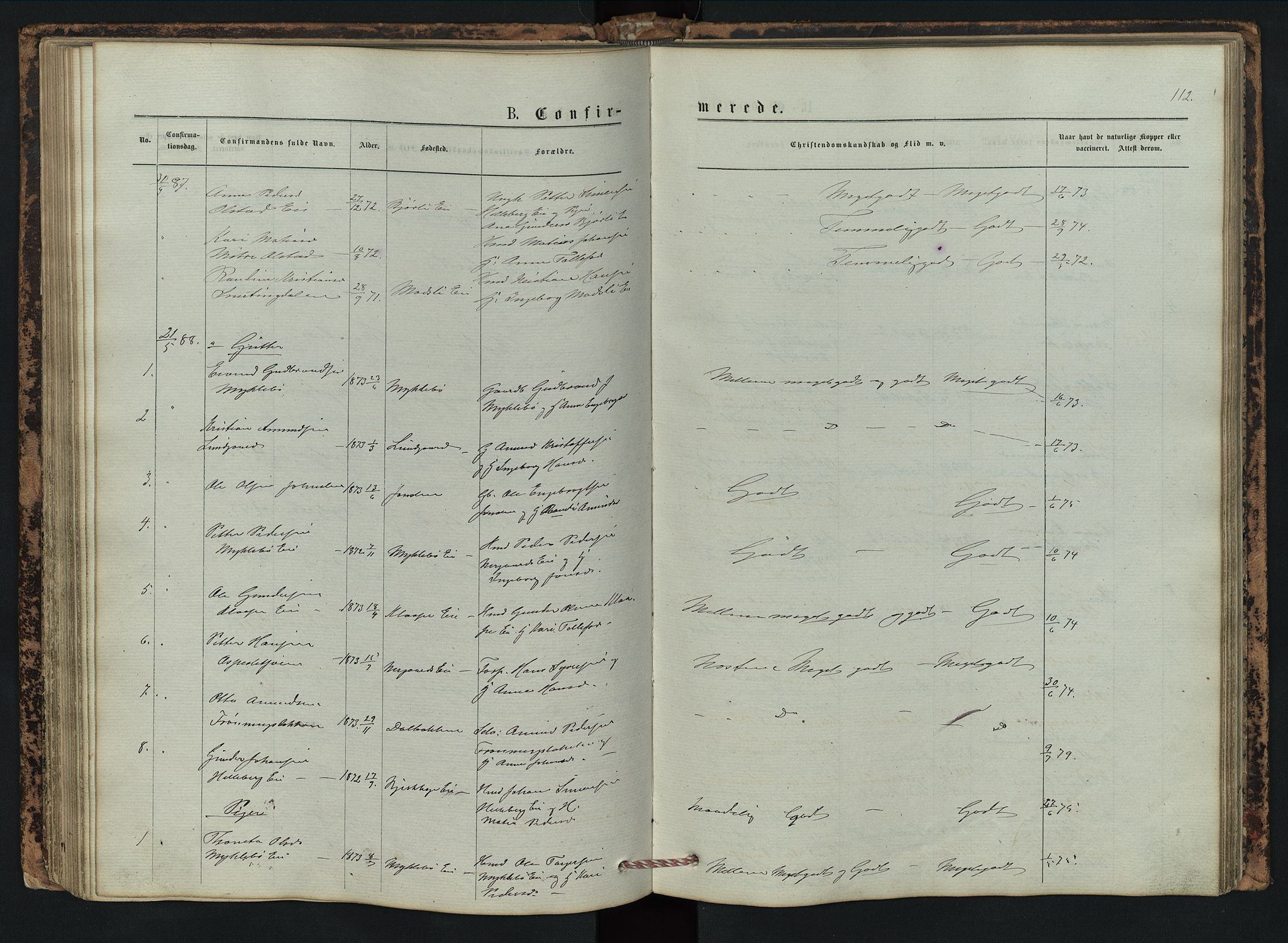 SAH, Vestre Gausdal prestekontor, Klokkerbok nr. 2, 1874-1897, s. 112