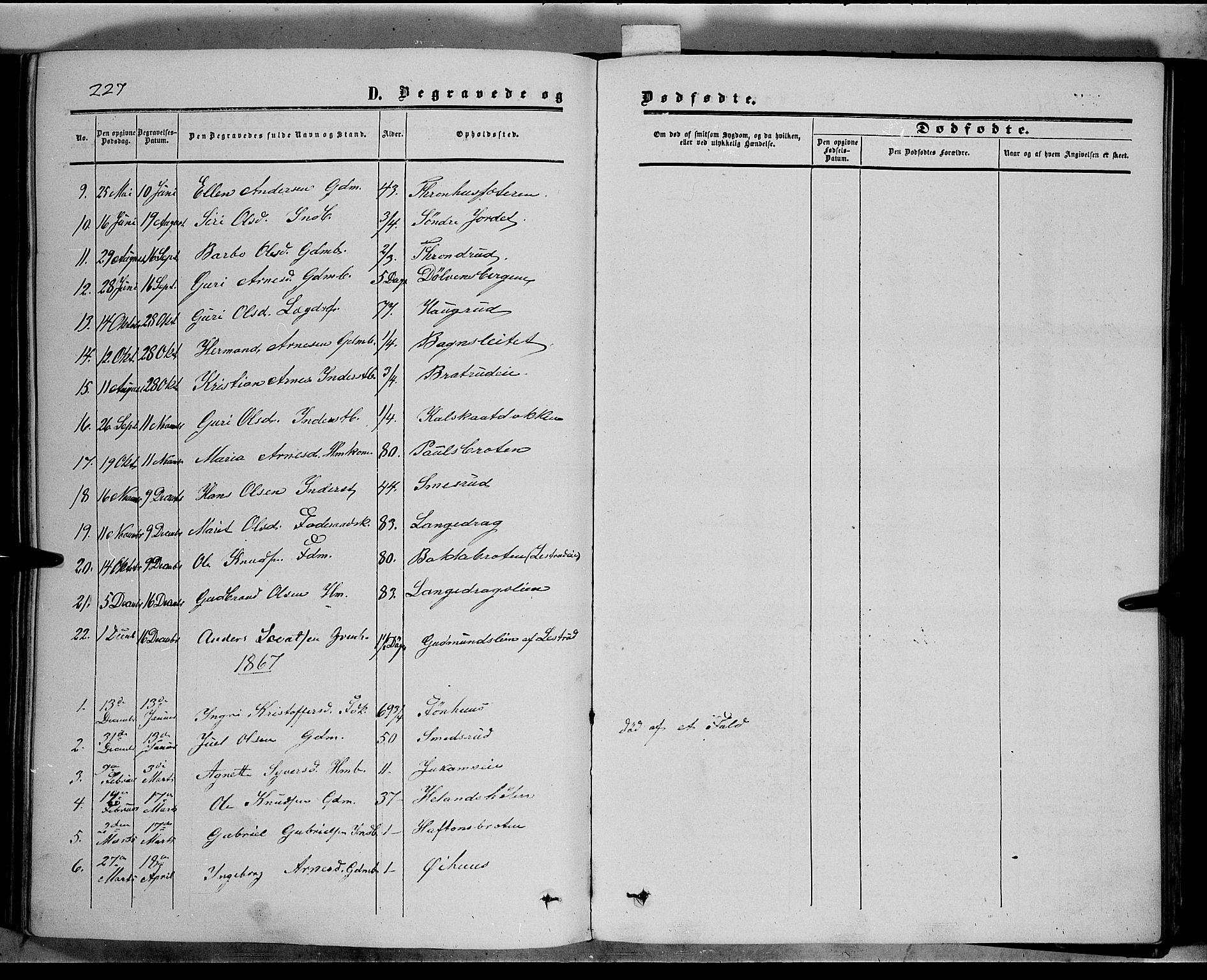 SAH, Sør-Aurdal prestekontor, Ministerialbok nr. 5, 1849-1876, s. 227