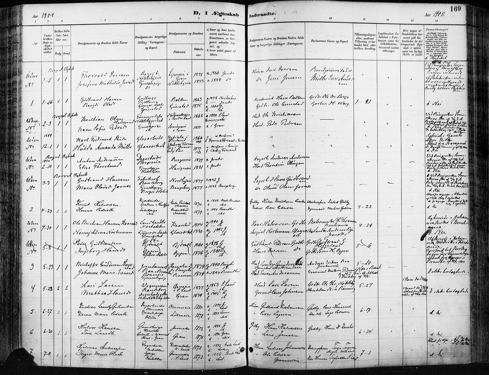 SAH, Jevnaker prestekontor, Ministerialbok nr. 9, 1891-1901, s. 169